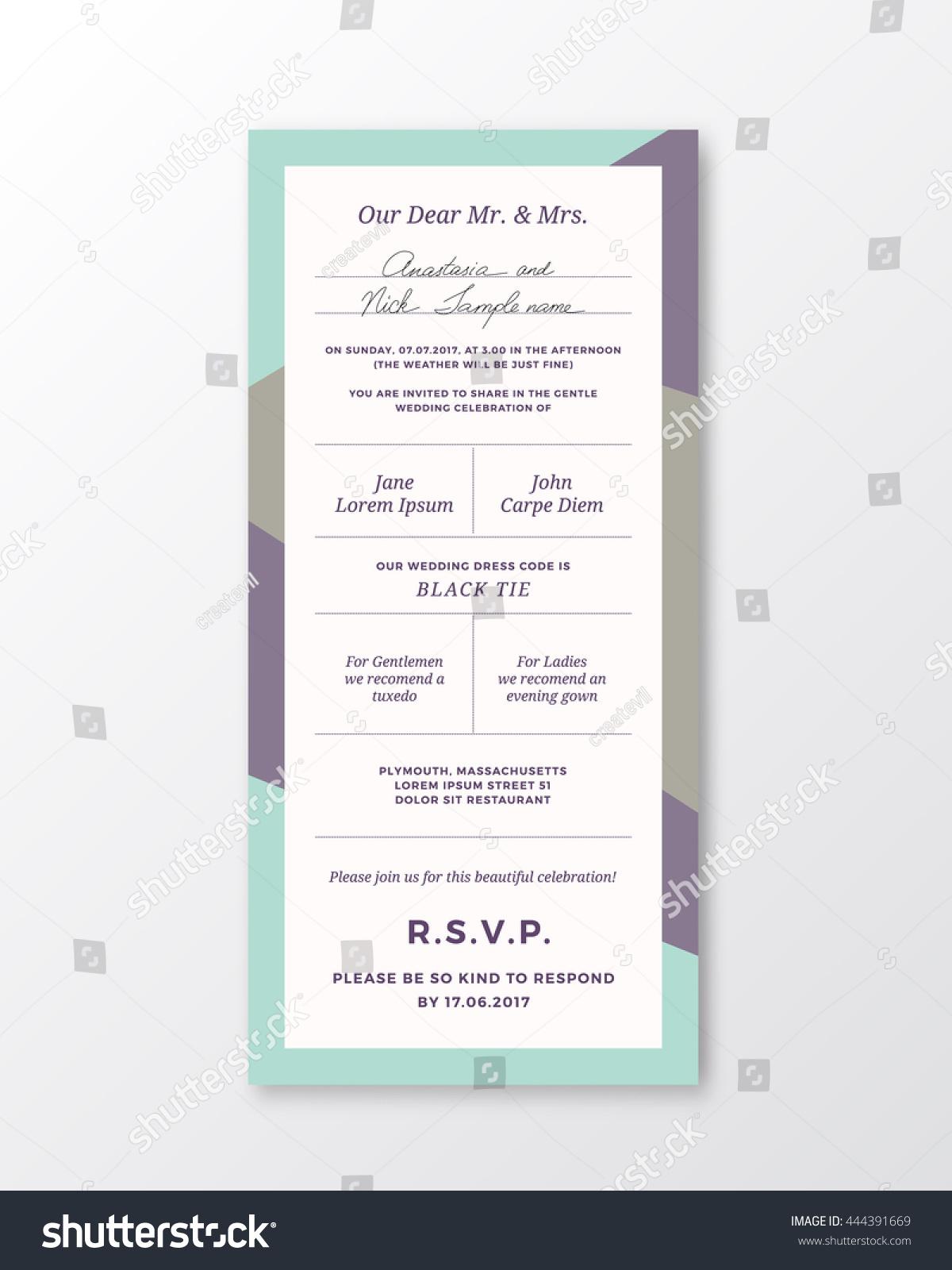 Vector Wedding Invitation Template Modern Typography Stock