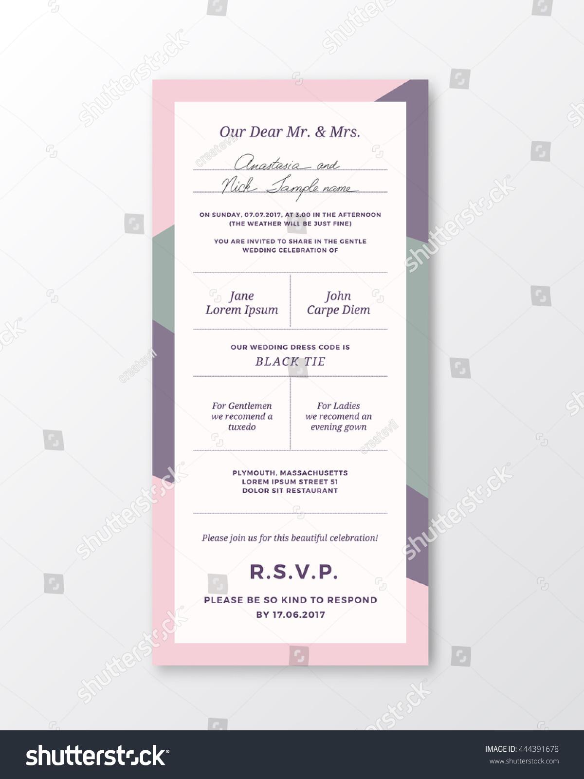 Vector Wedding Invitation Template Modern Typography Stock Vector HD ...