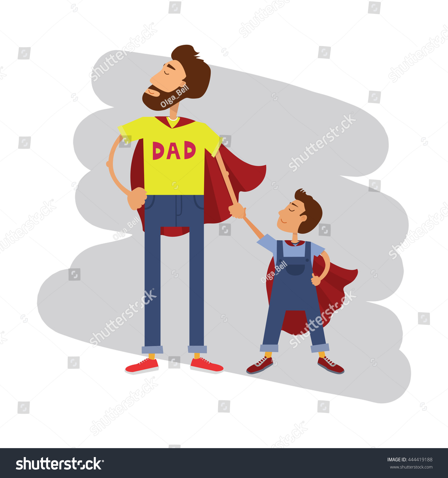 Super hero dad and son. Father and son family team. Cartoon superhero  father and