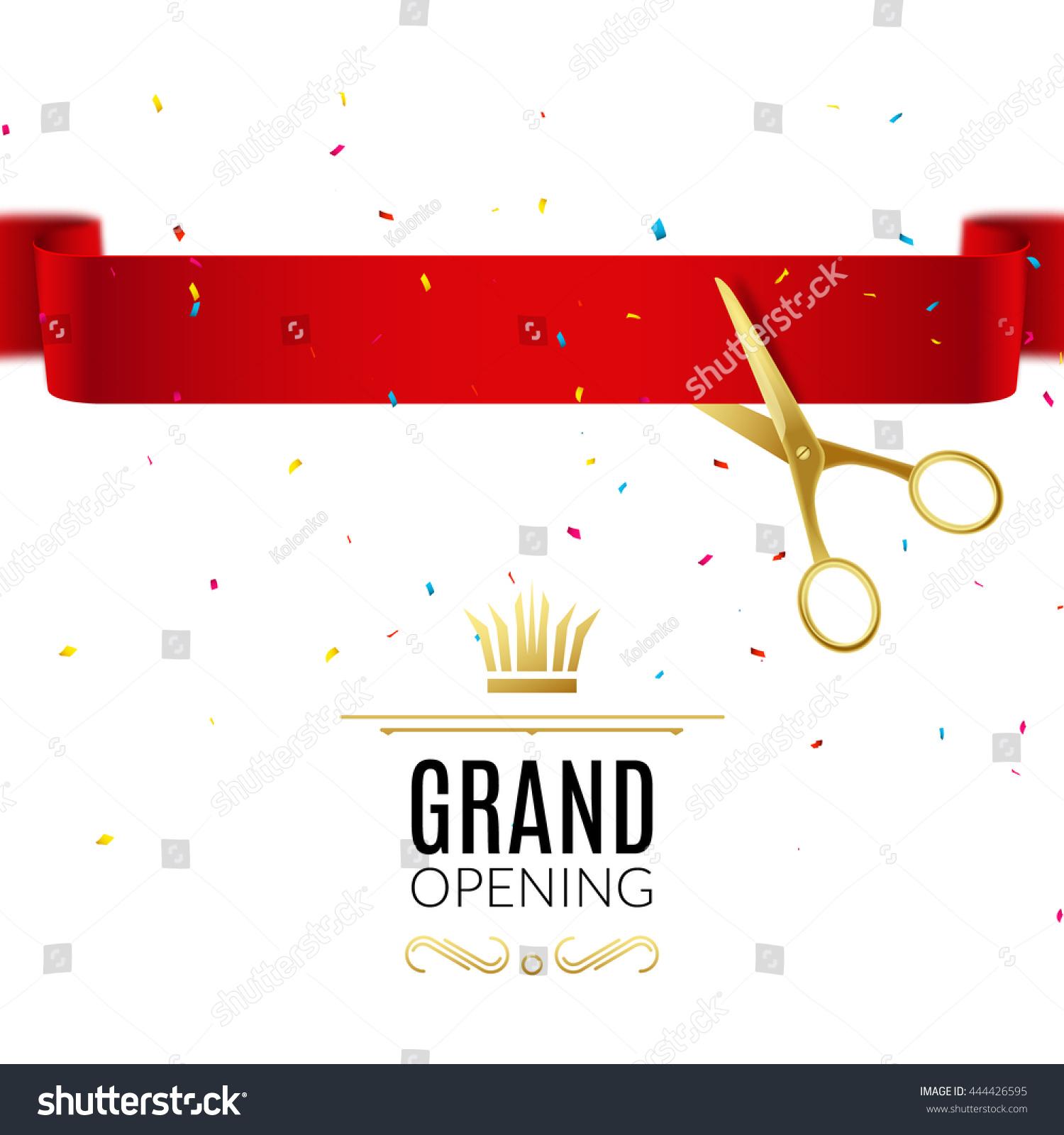 grand opening design template ribbon scissors stock vector 444426595 shutterstock. Black Bedroom Furniture Sets. Home Design Ideas