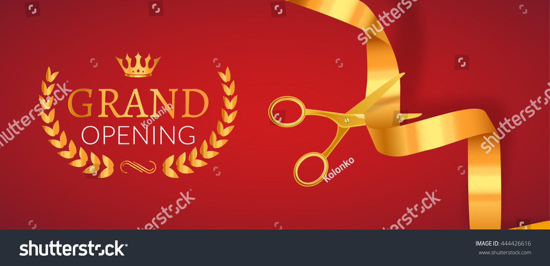 Grand Opening Invitation Banner Golden Ribbon Stock Vector Royalty