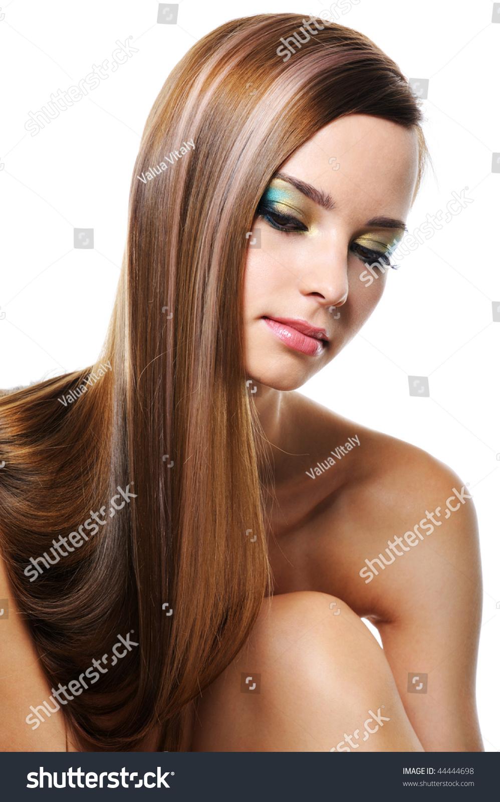 Portrait Beautiful Girl Smooth Gloss Long Stock Photo 44444698 - Shutterstock