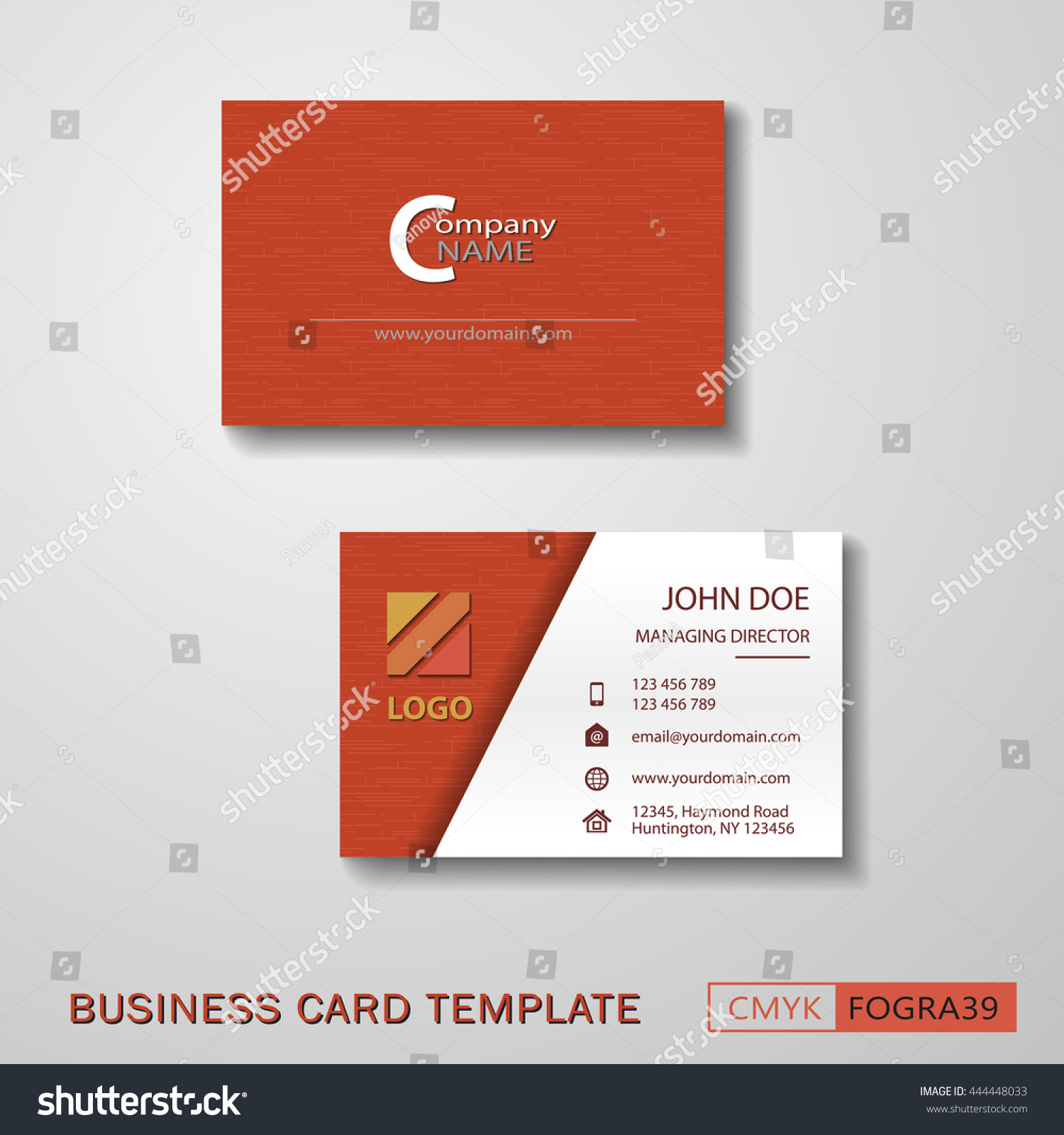 vcard business card set red vector stock vector