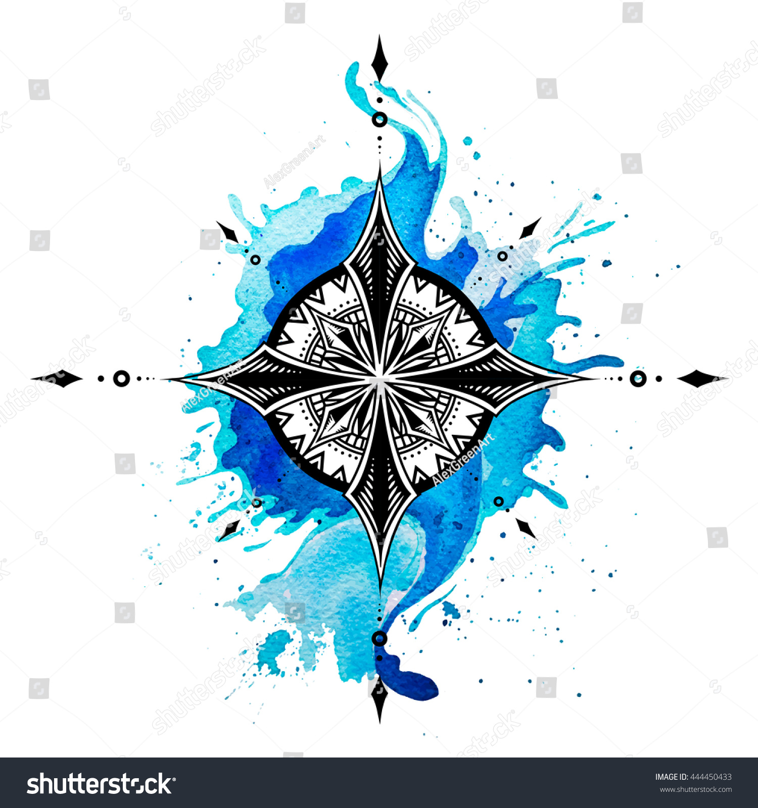 f27021dc3 Compass Ink Watercolor Drawing Watercolor Tattoo Stock Illustration ...