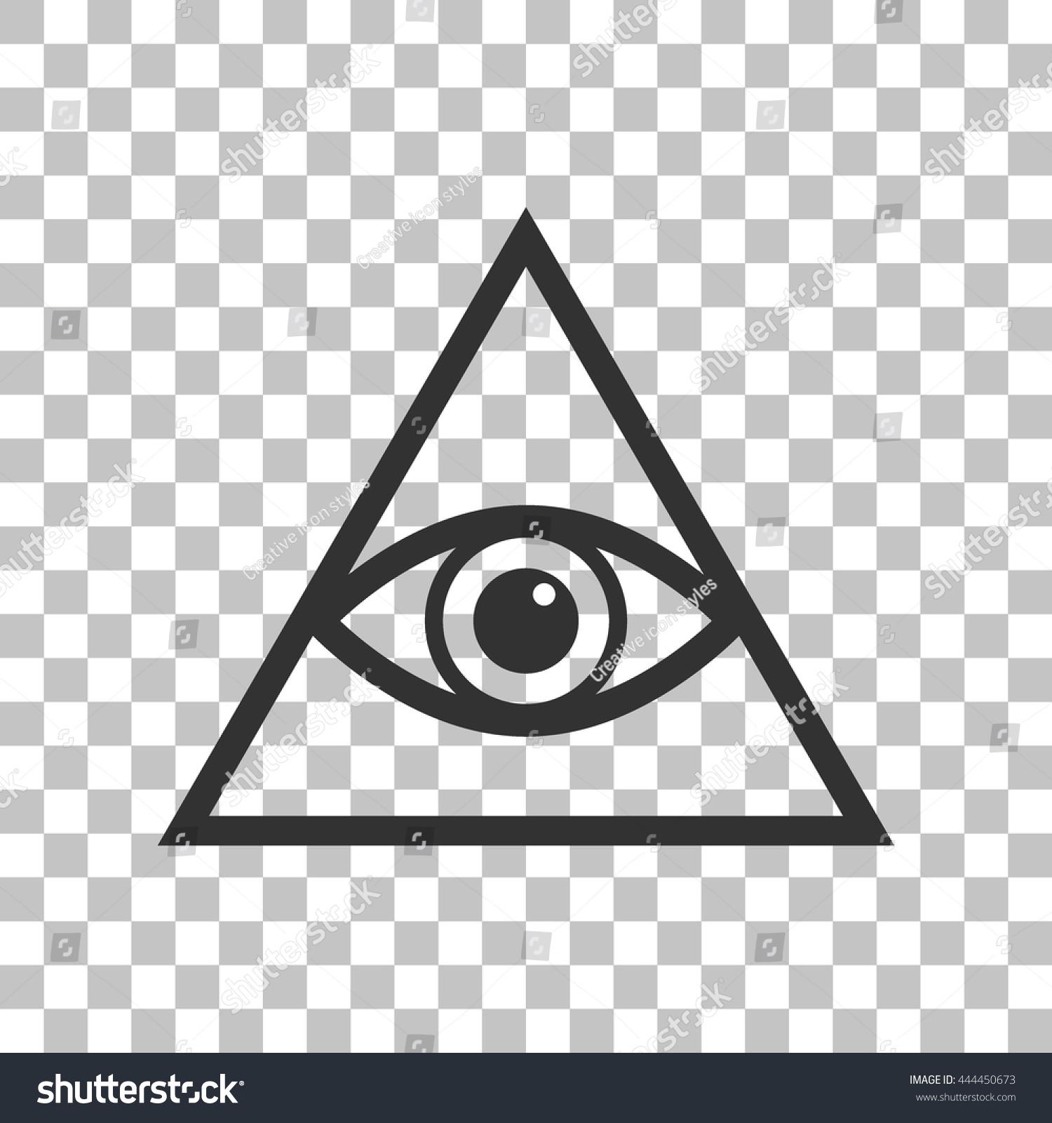 All Seeing Eye Pyramid Symbol Freemason And Spiritual Dark Gray Icon On Transparent Background