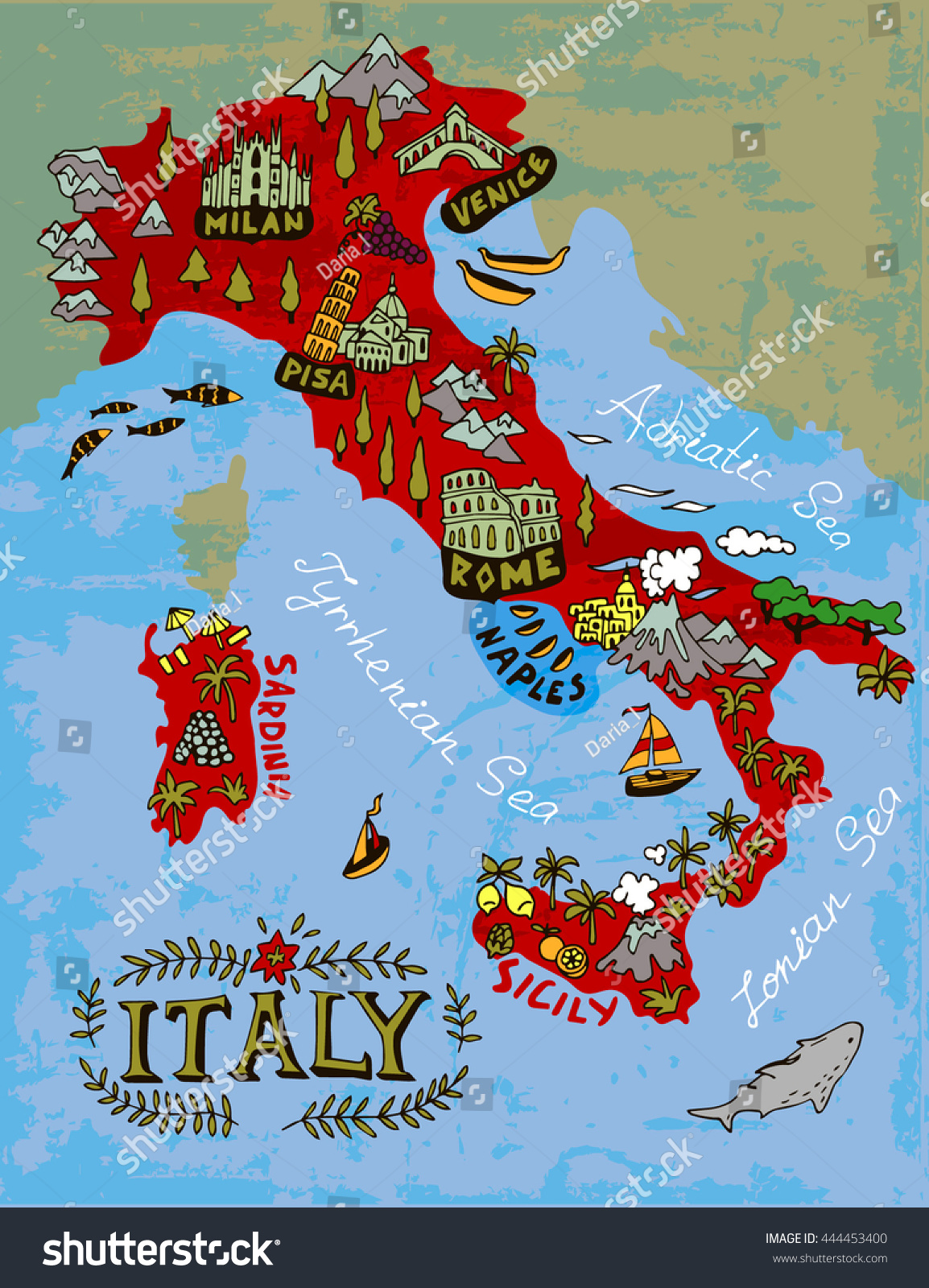 Illustrated Map Italy Travel Vector 444453400 Shutterstock – Travel Map Of Italy