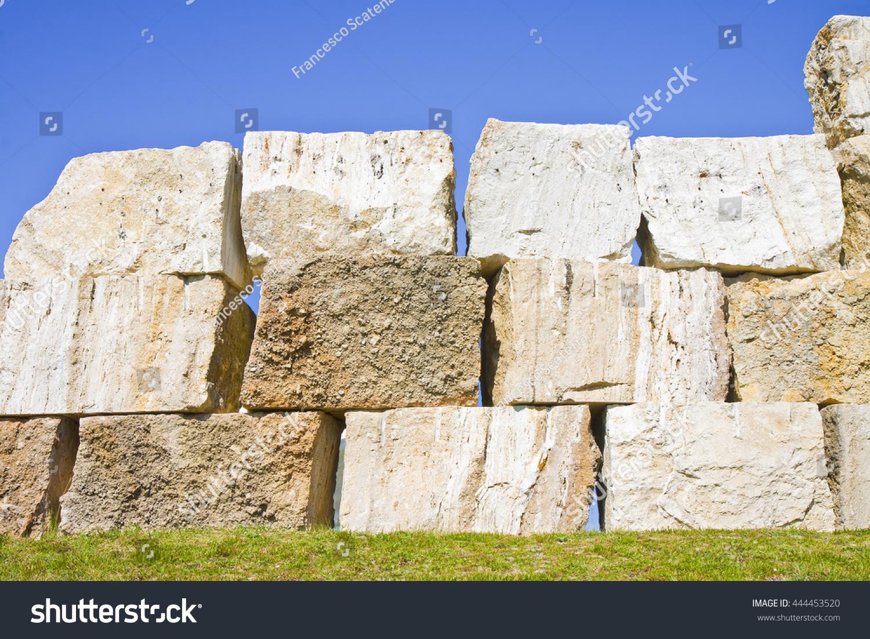 Large Stone Blocks : Large overlaid stone blocks background stock photo