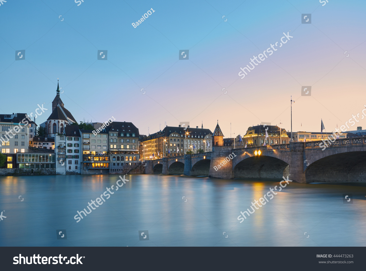 Middle bridge over Rhine river Basel Switzerland
