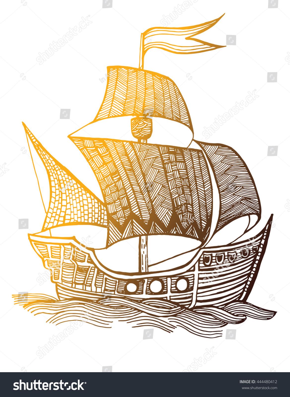 Old Ship Sailboat Pirate Ship Fleet Stock Vector 444480412 ...