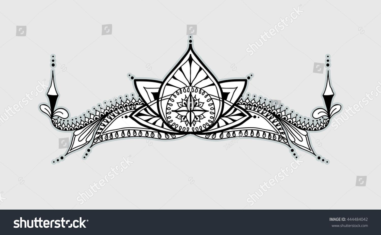 Template Tattoo Design Mehndi Elements Lotus Stock Vector Royalty
