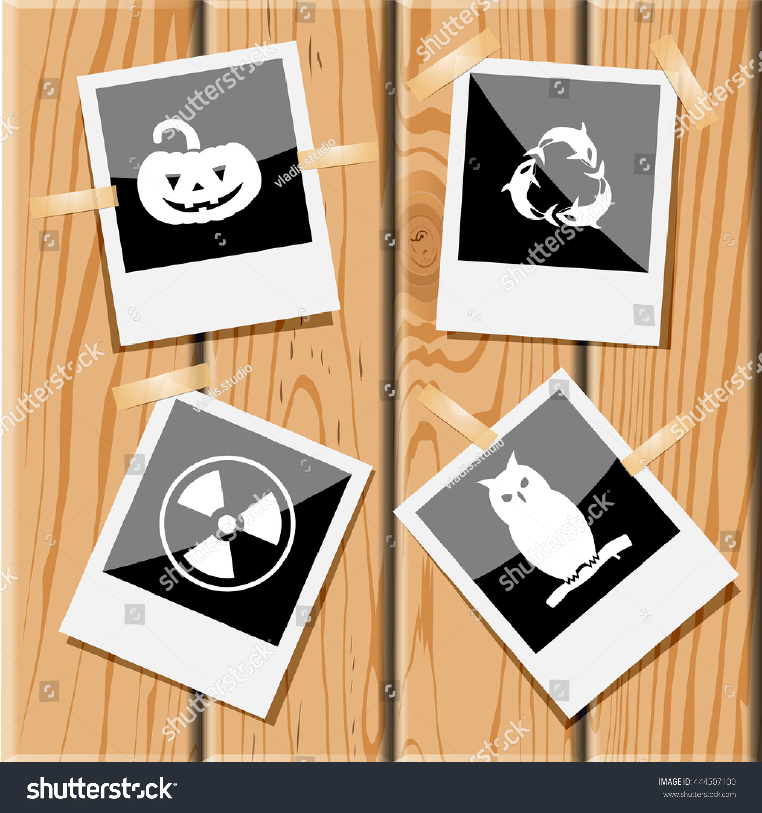4 images pumpkin killer whale recycling stock vector 444507100 4 images pumpkin killer whale as recycling symbol radiation symbol owl biocorpaavc Choice Image