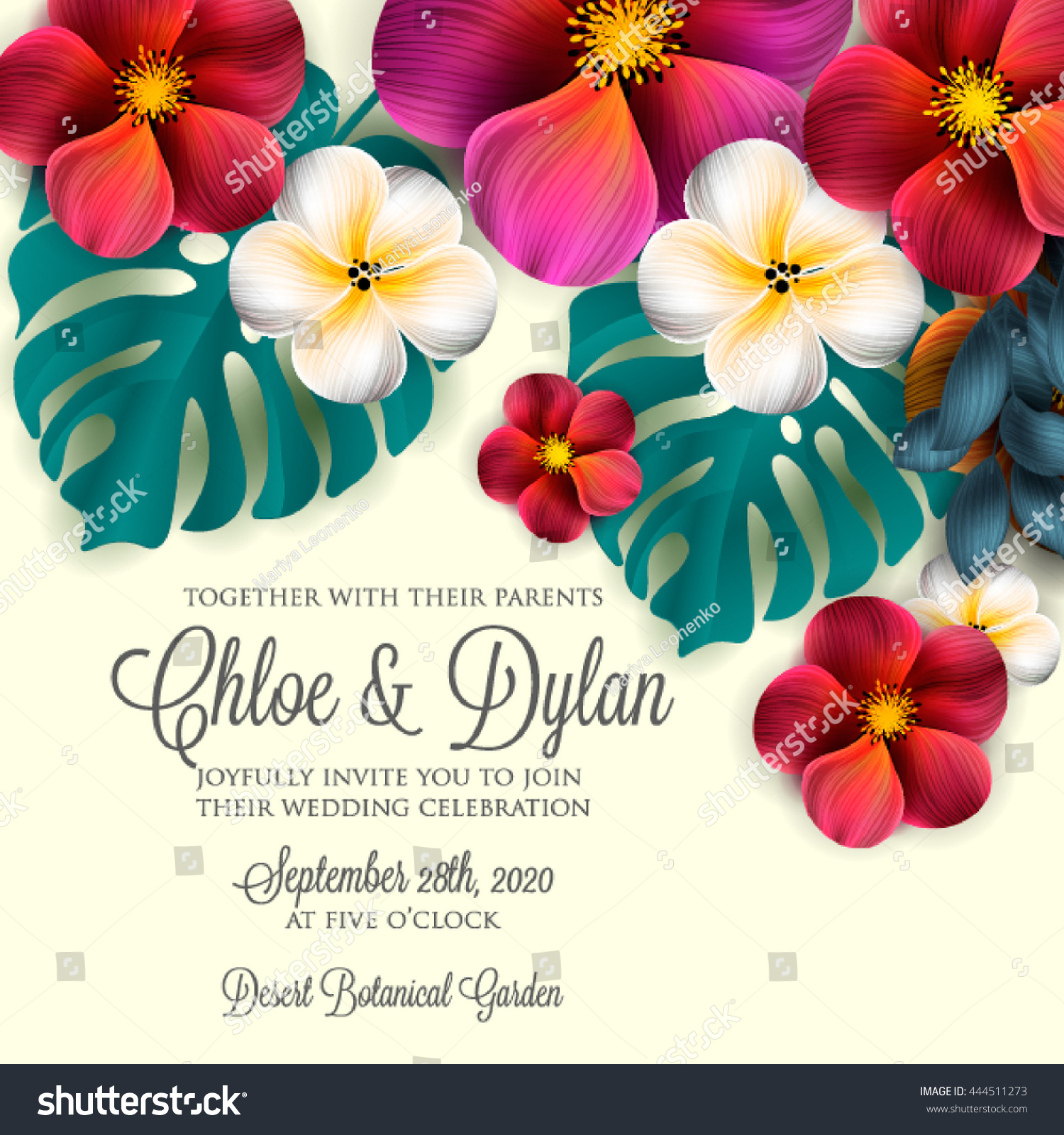 Wedding Invitation Hibiscus Lillyand Magnolia Flowers Stock Vector