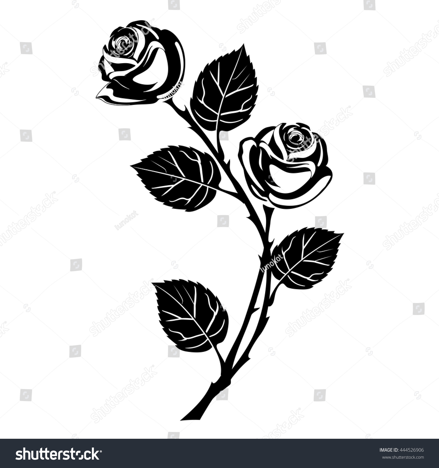 Rose Tattoo Black Silhouette Branch Flowers Stock Vector ...