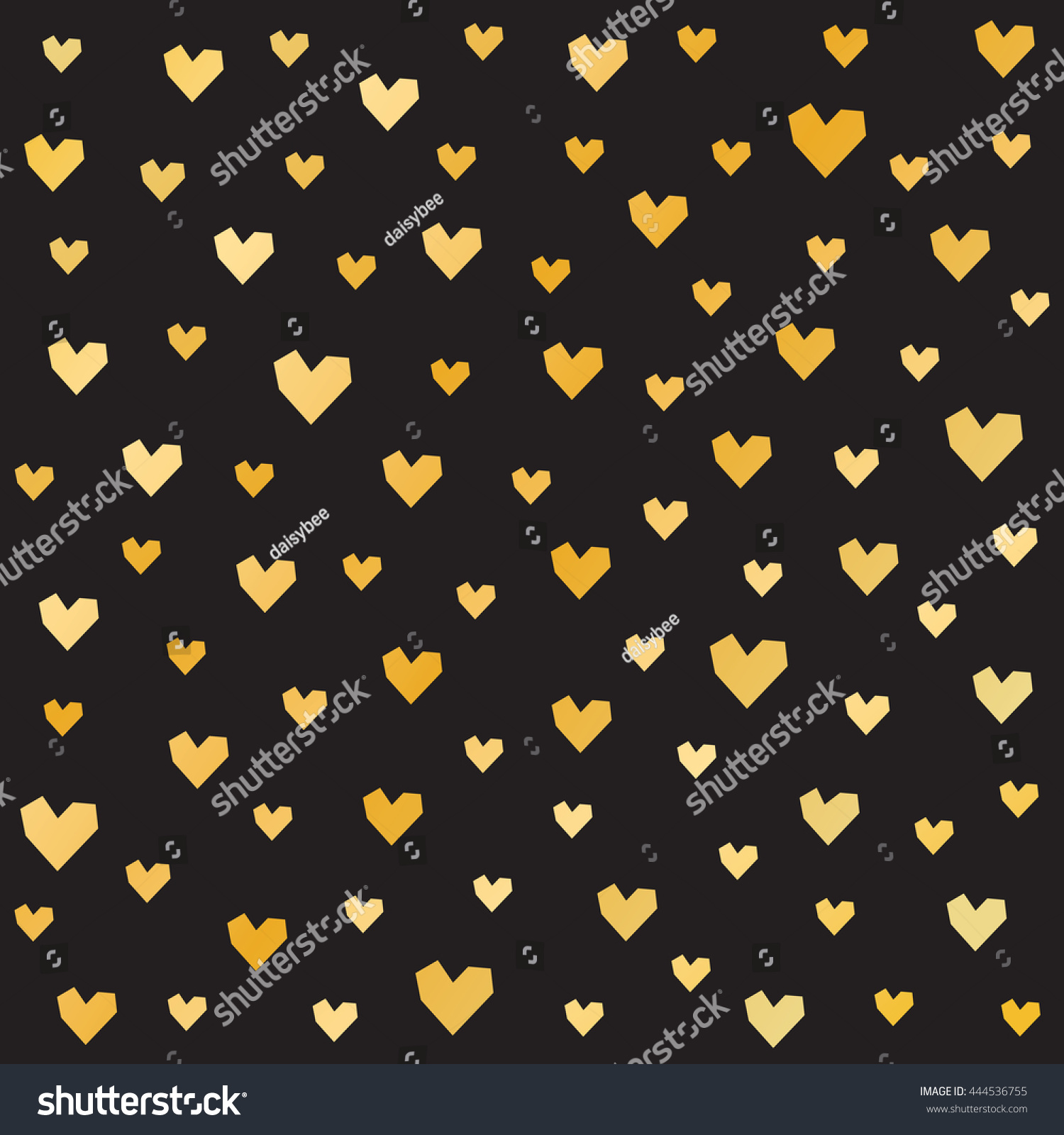 Romantic vector seamless background greeting card wallpaper vector art -  Vectors Illustrations Footage Music Seamless Romantic Pattern For Valentine S Day With Gold Hearts On Black Background Minimal Repeat Background