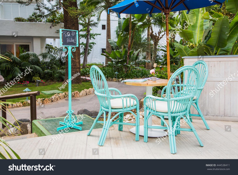 Beautiful open terrace garden spain marbella stock photo for Open terrace garden designs