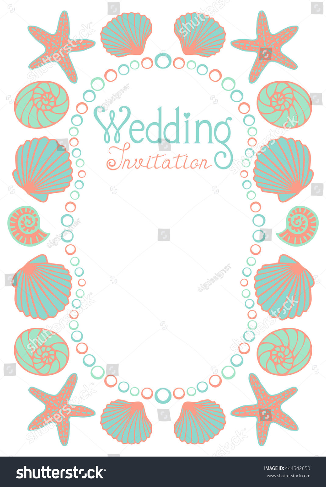 Wedding Invitation Card Sea Beach Theme Stock Vector (Royalty Free ...