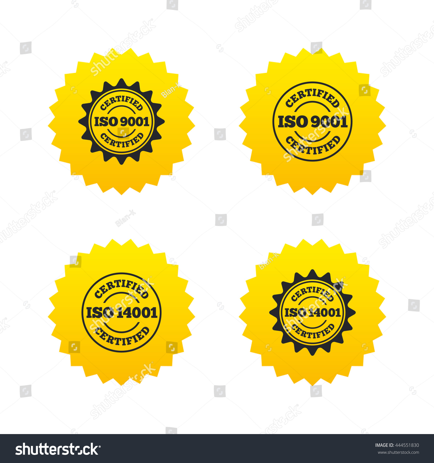 Iso 9001 14001 certified icons certification stock vector iso 9001 and 14001 certified icons certification star stamps symbols quality standard signs buycottarizona