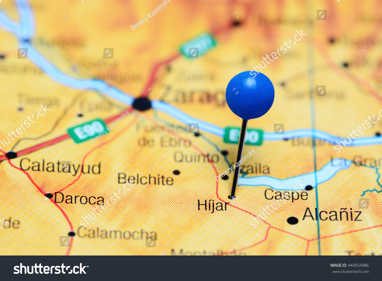 Calatayud Spain Map.Royalty Free Hijar Pinned On A Map Of Spain 444554986 Stock Photo