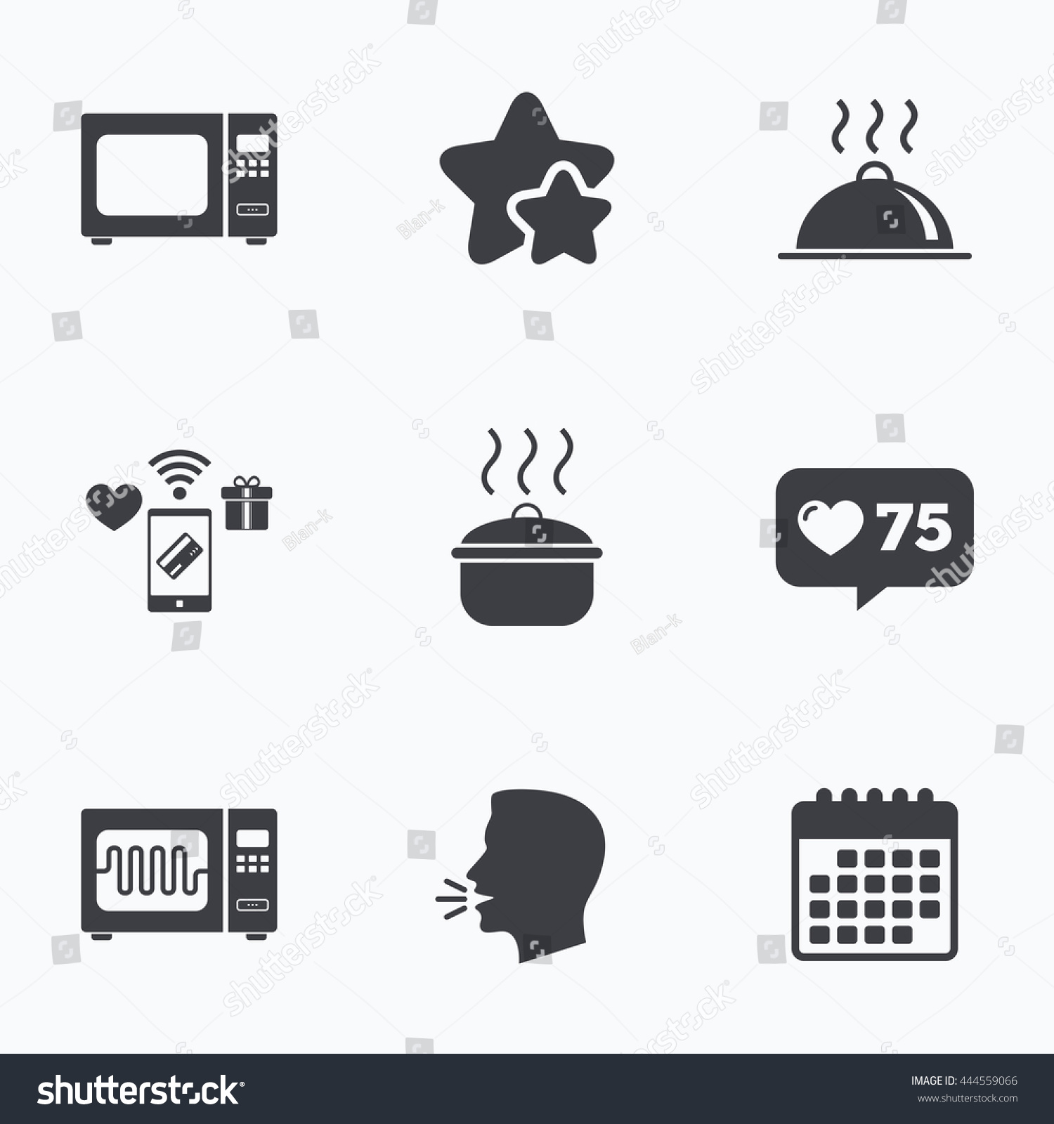 Microwave Grill Oven Icons Cooking Pan Stock Vector Royalty Free
