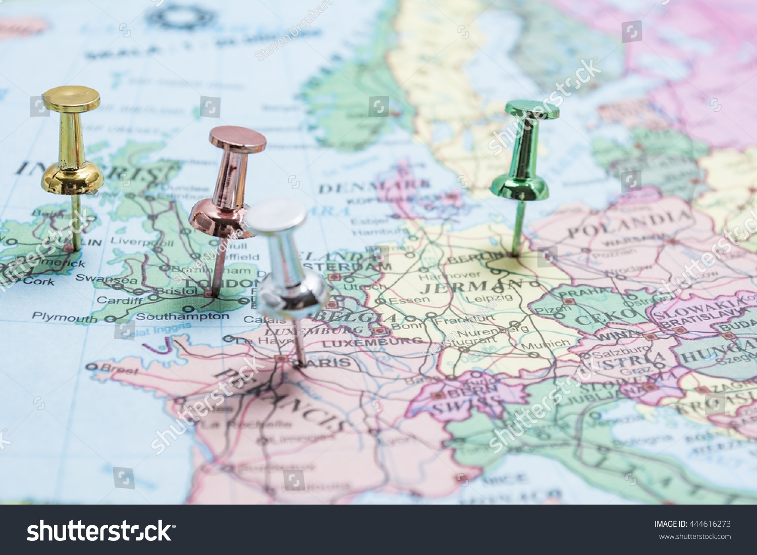 Calais Europe Map.Map Europe Pins On Major Cities Stock Photo Edit Now 444616273