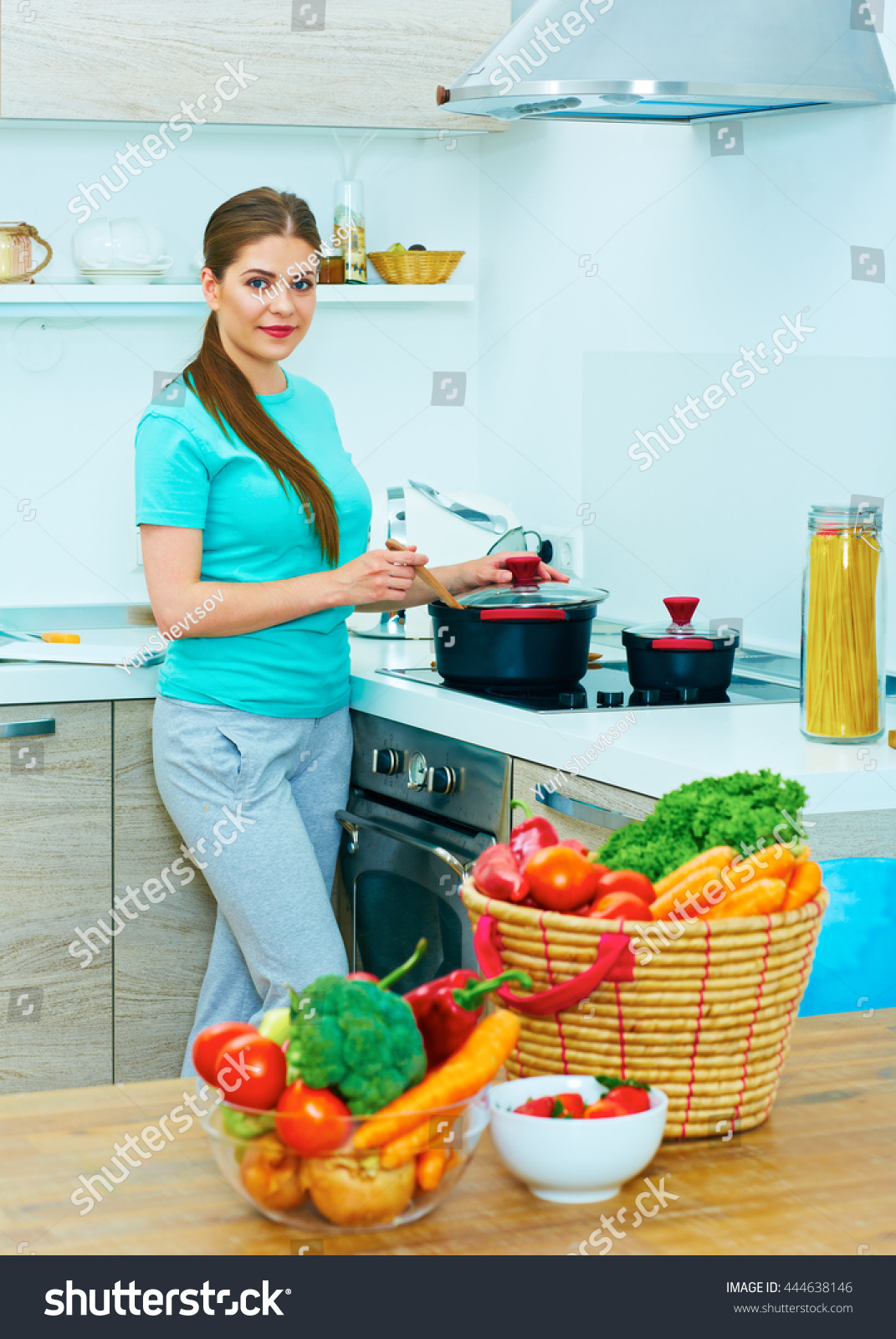 Portrait Young Woman Kitchen Cooking Food Stock Photo (Royalty Free ...