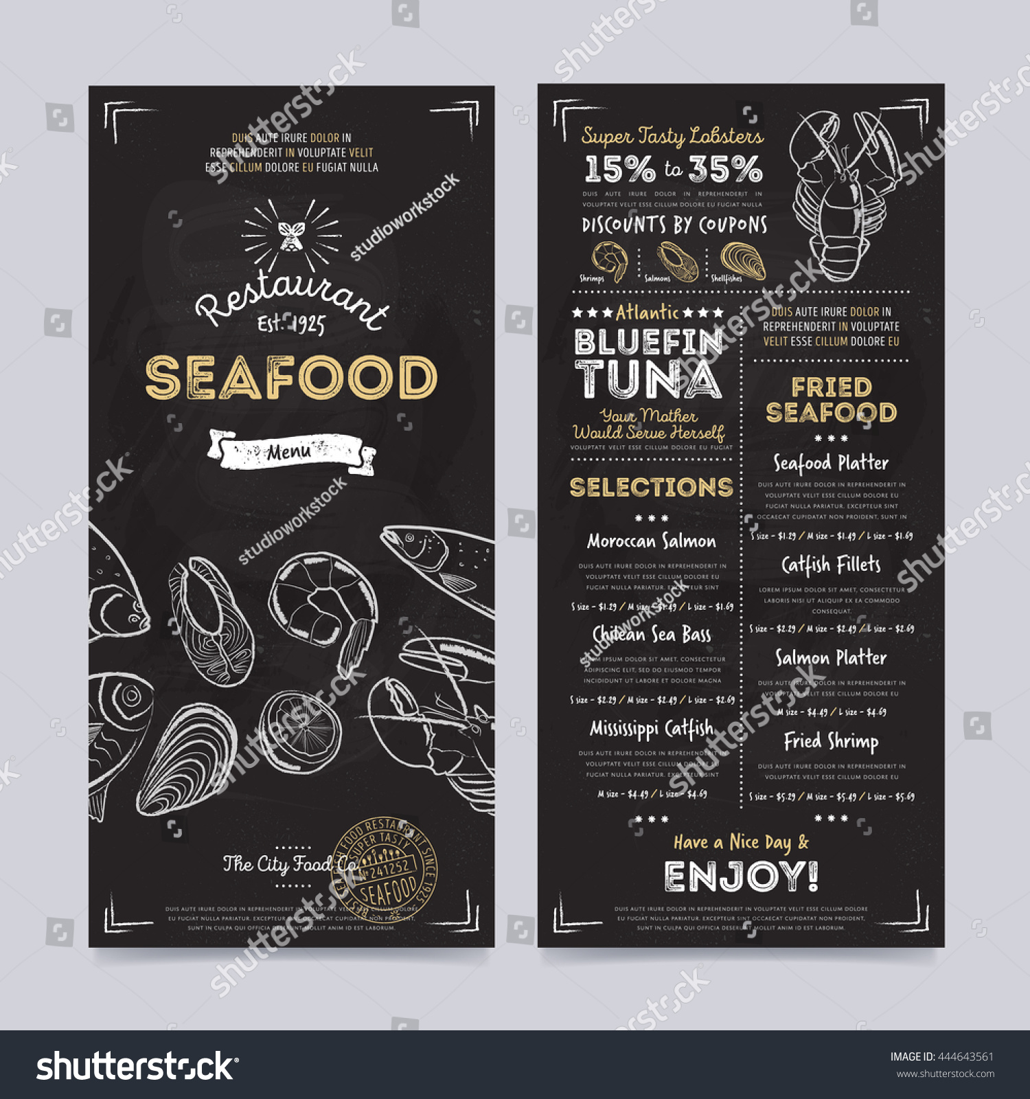 seafood restaurant menu design template on stock vector (royalty