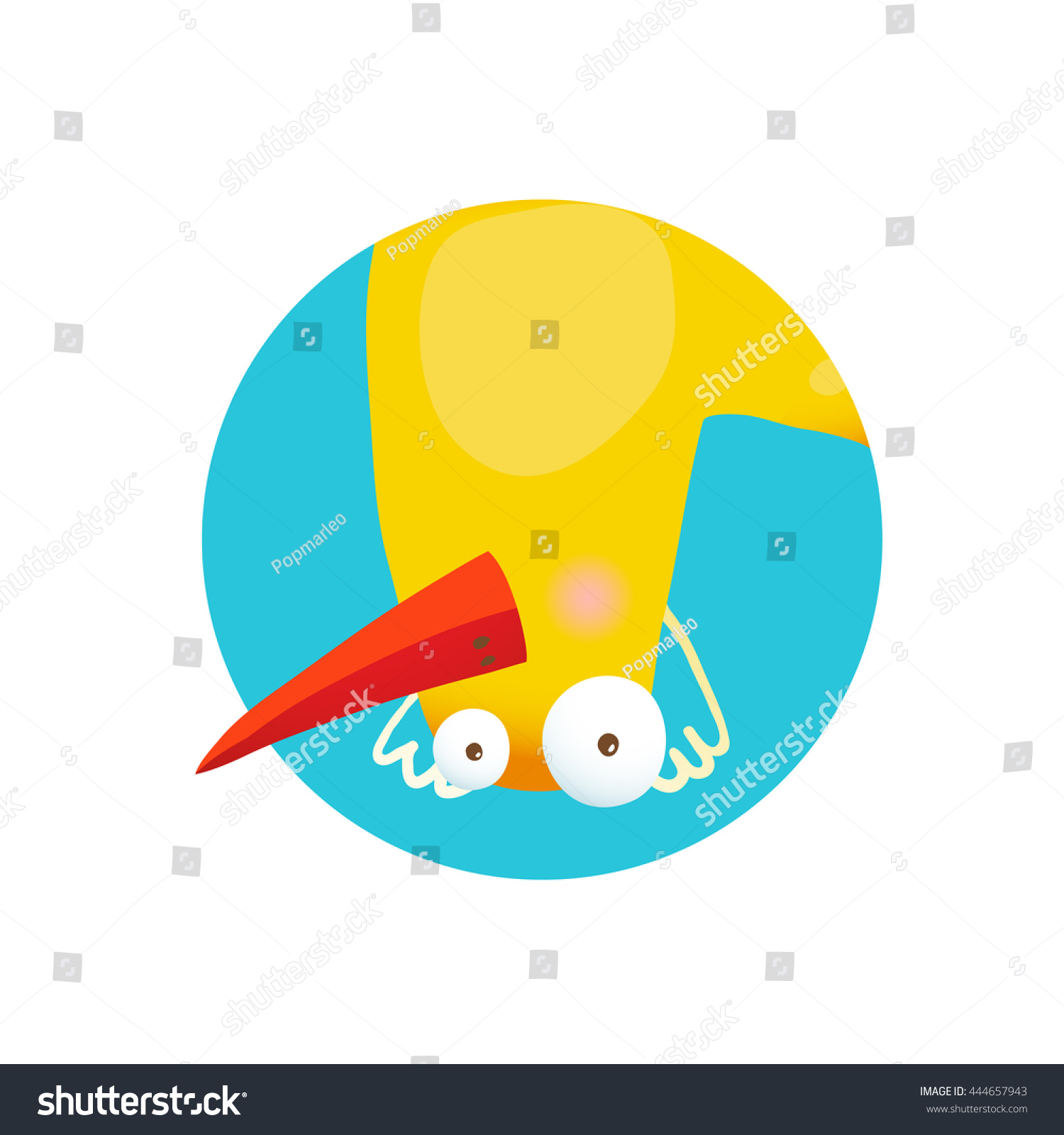 Kids Duck Upside Down Funny Icon Stock Illustration 444657943