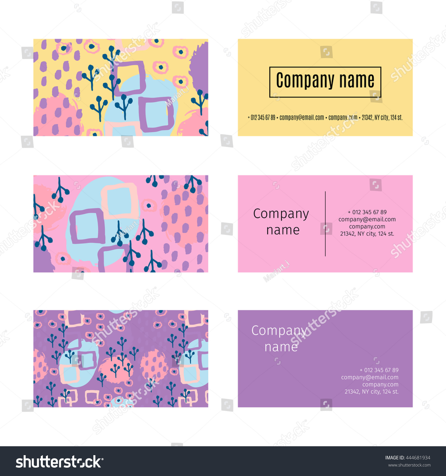 Collection Business Cards Memphis Abstract Seamless Stock Photo ...