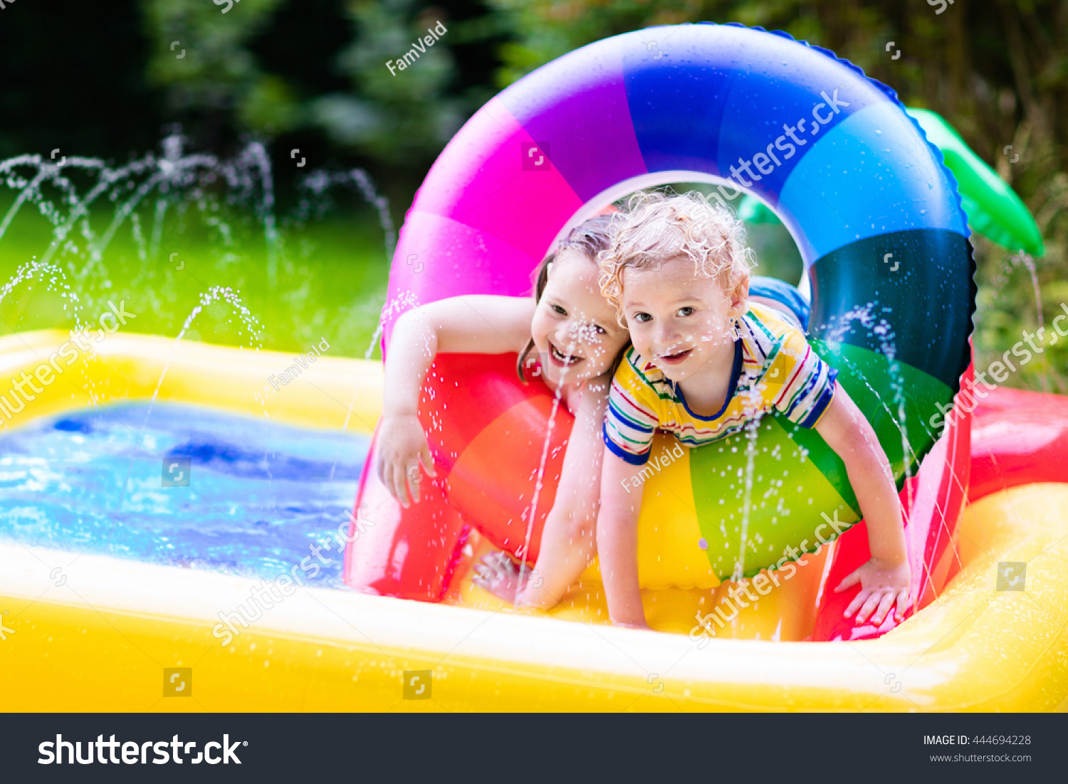 children playing inflatable baby pool kids stock photo 444694228