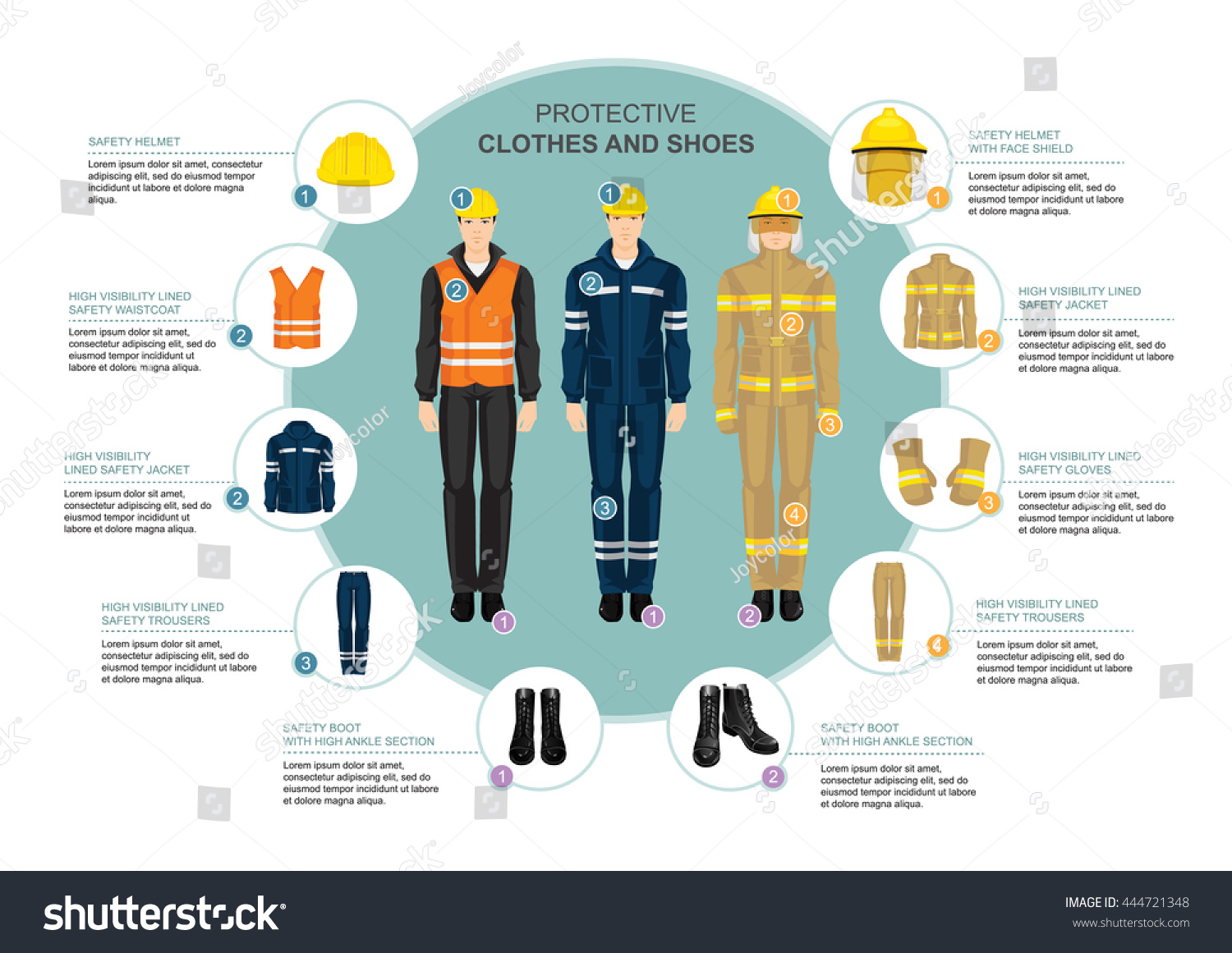info graphics professional work wear hardworking stock vektor info graphics professional work wear for hard working people safety clothes shoes