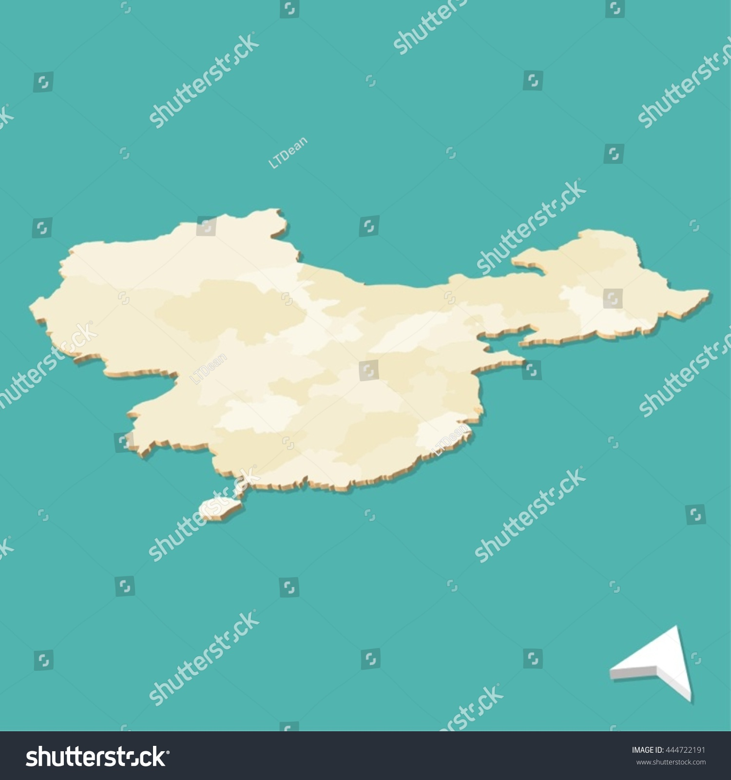 Modern China Three Dimensional Vector Map Stock Vector Royalty Free