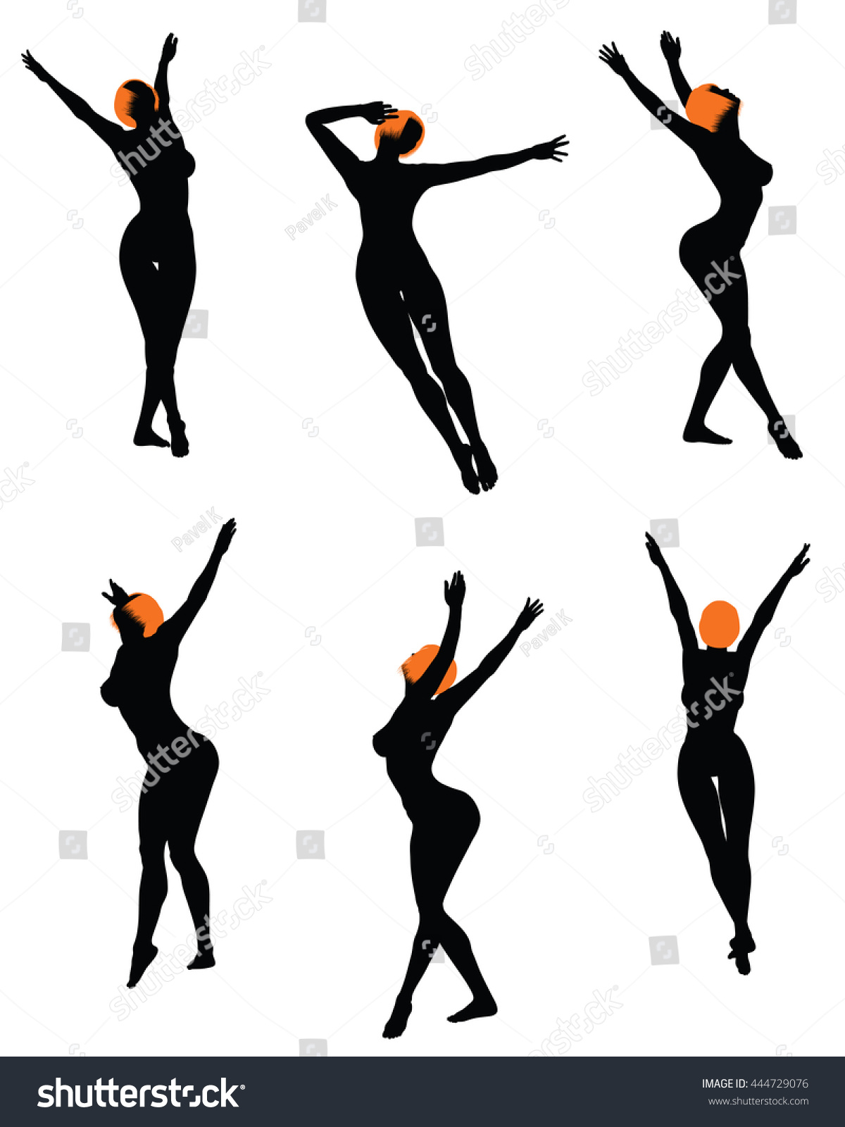 Naked sexy girls silhouette set. Very smooth and detailed with color  hairstyle. Vector illustration
