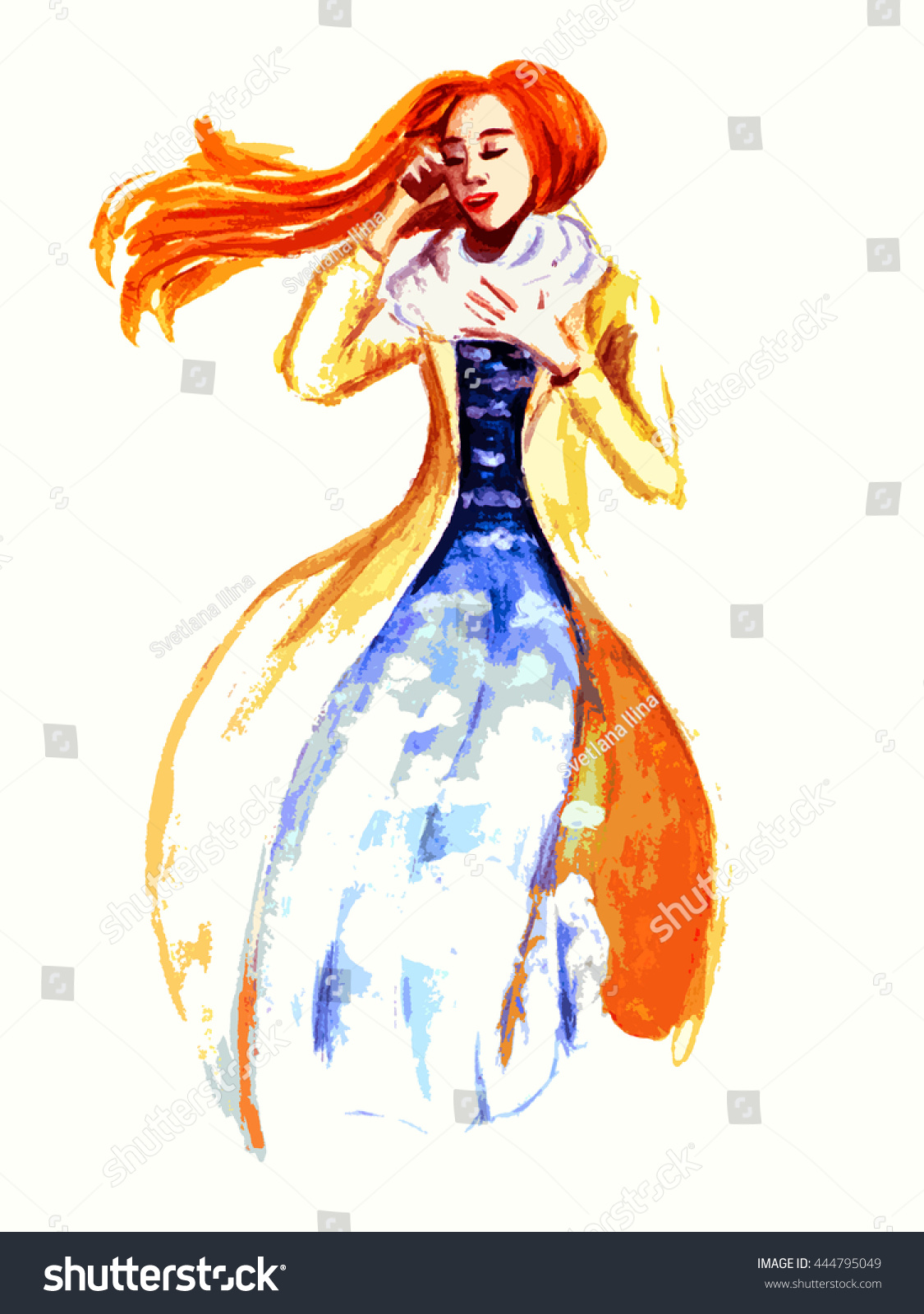 Hand Drawn Watercolor Fashion Sketches Abstract Stock Illustration 444795049 - Shutterstock