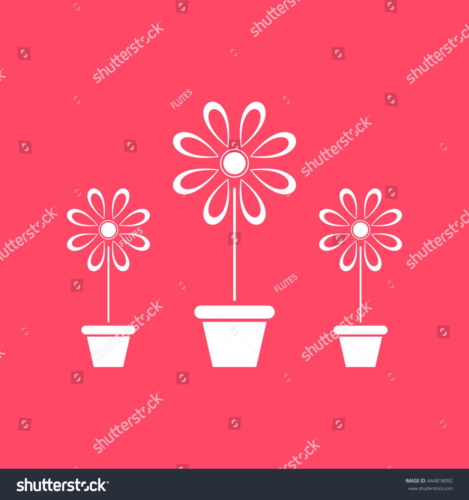 Flower Vase White Icon On Magenta Stock Vector (2018) 444818092 ...