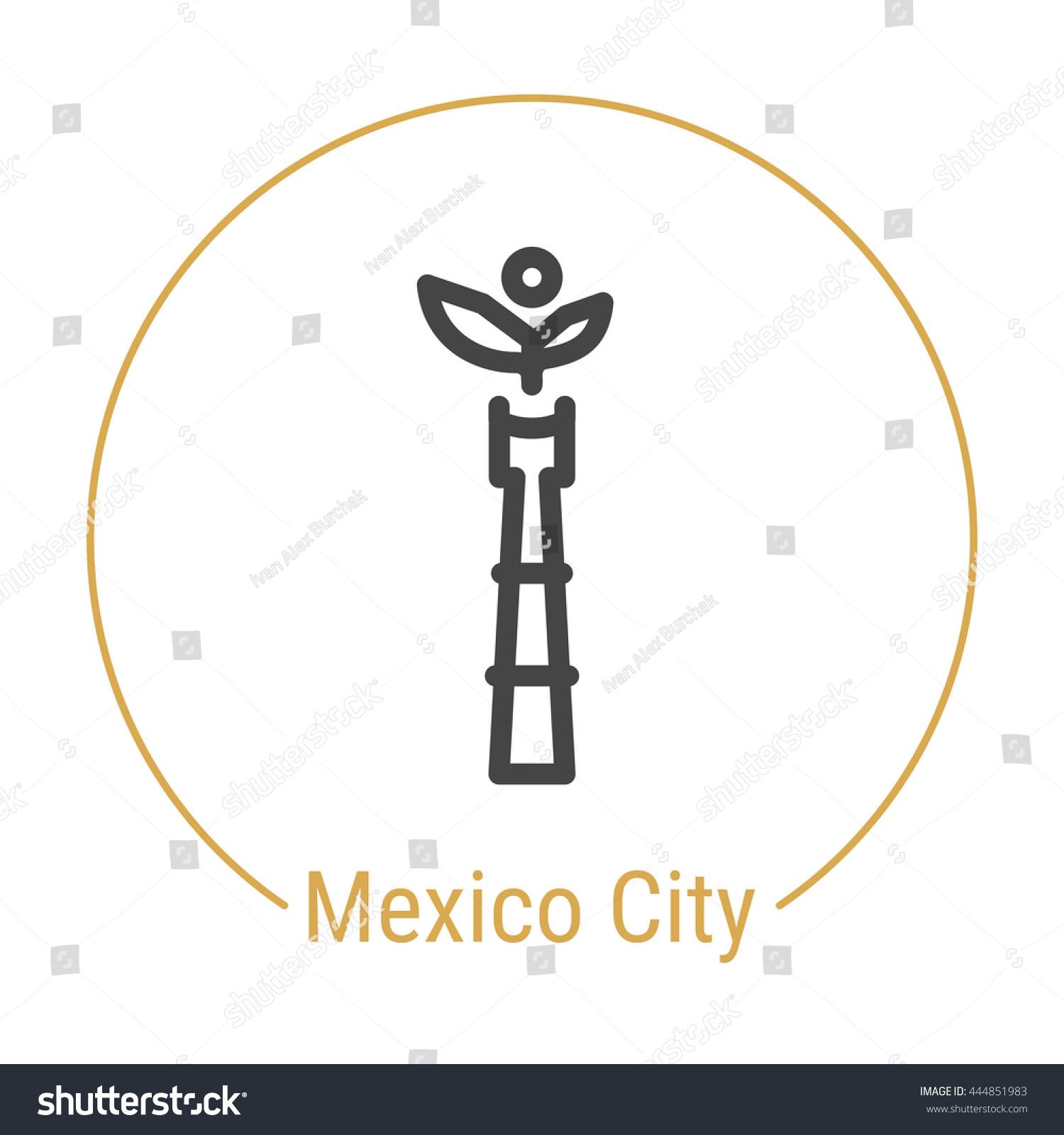 Mexico City Mexico Outline Icon Caption Stock Vector Royalty Free