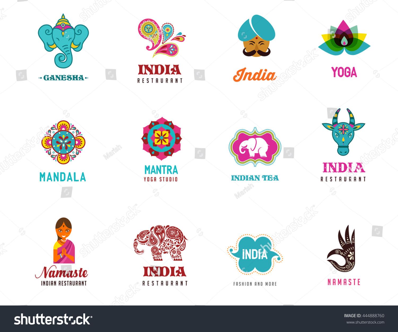India Set Indian Icons Ganesh Lotus Vector de stock (libre de ...