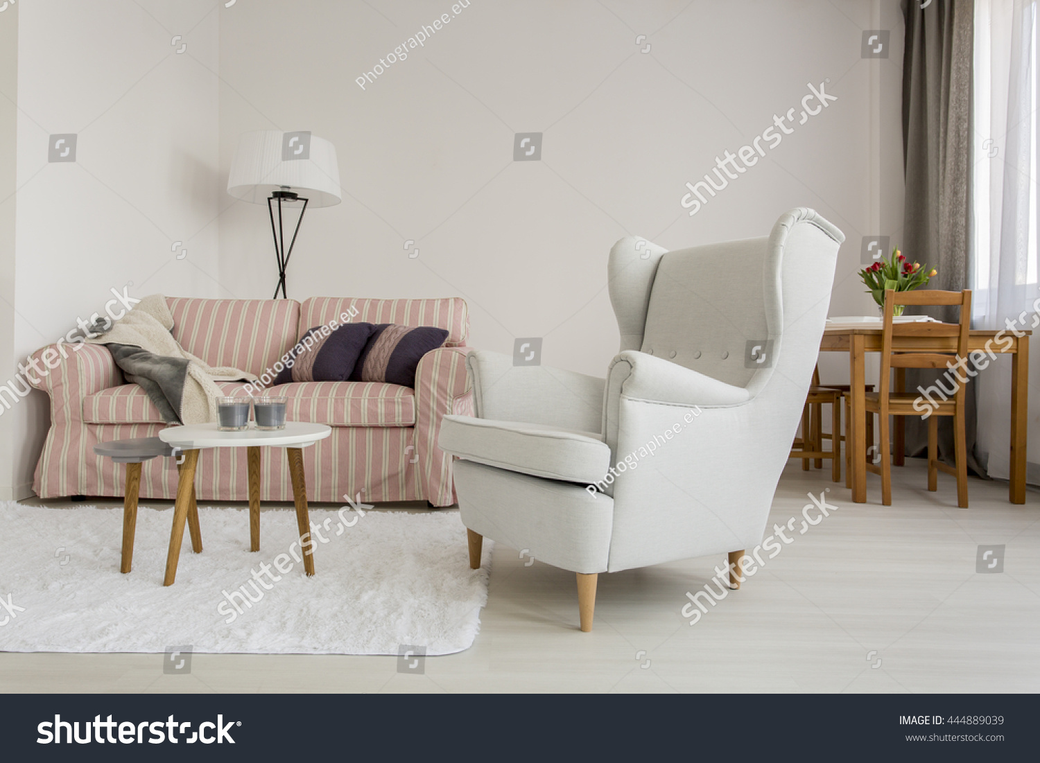 Nice Shot Of A Cozy Living Room With A Big Armchair And A Sofa