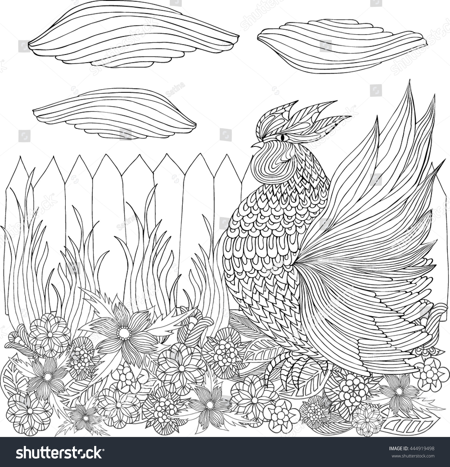 rooster flower garden hand drawn stock vector 444919498