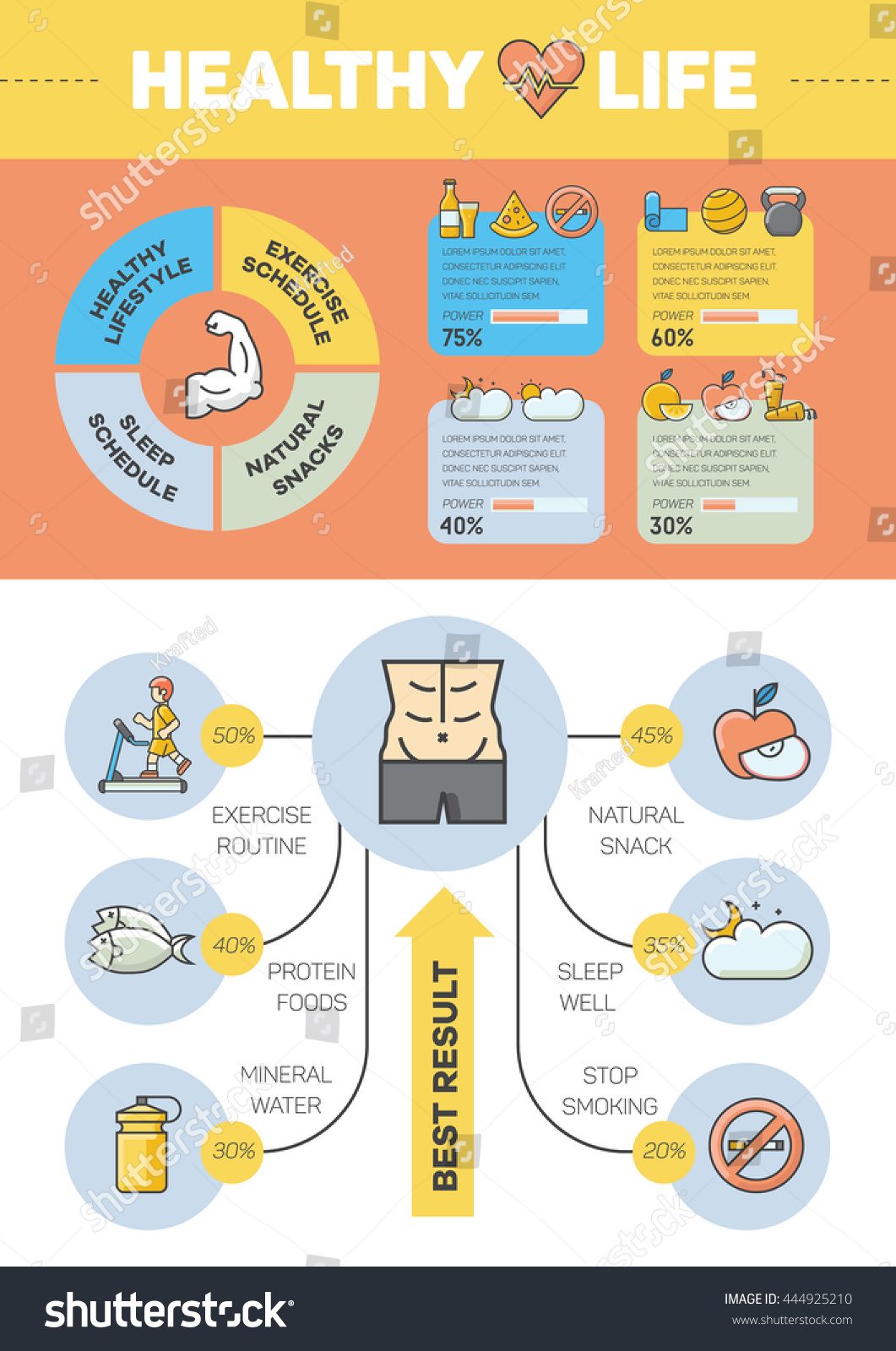 Flat Design Infographic About Healthy Life Stock Vector 444925210 ...