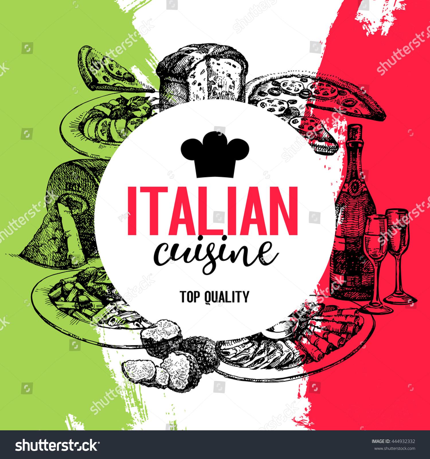 Italian Restaurant Logo With Flag: Restaurant Italian Cuisine Menu Design Vintage Stock