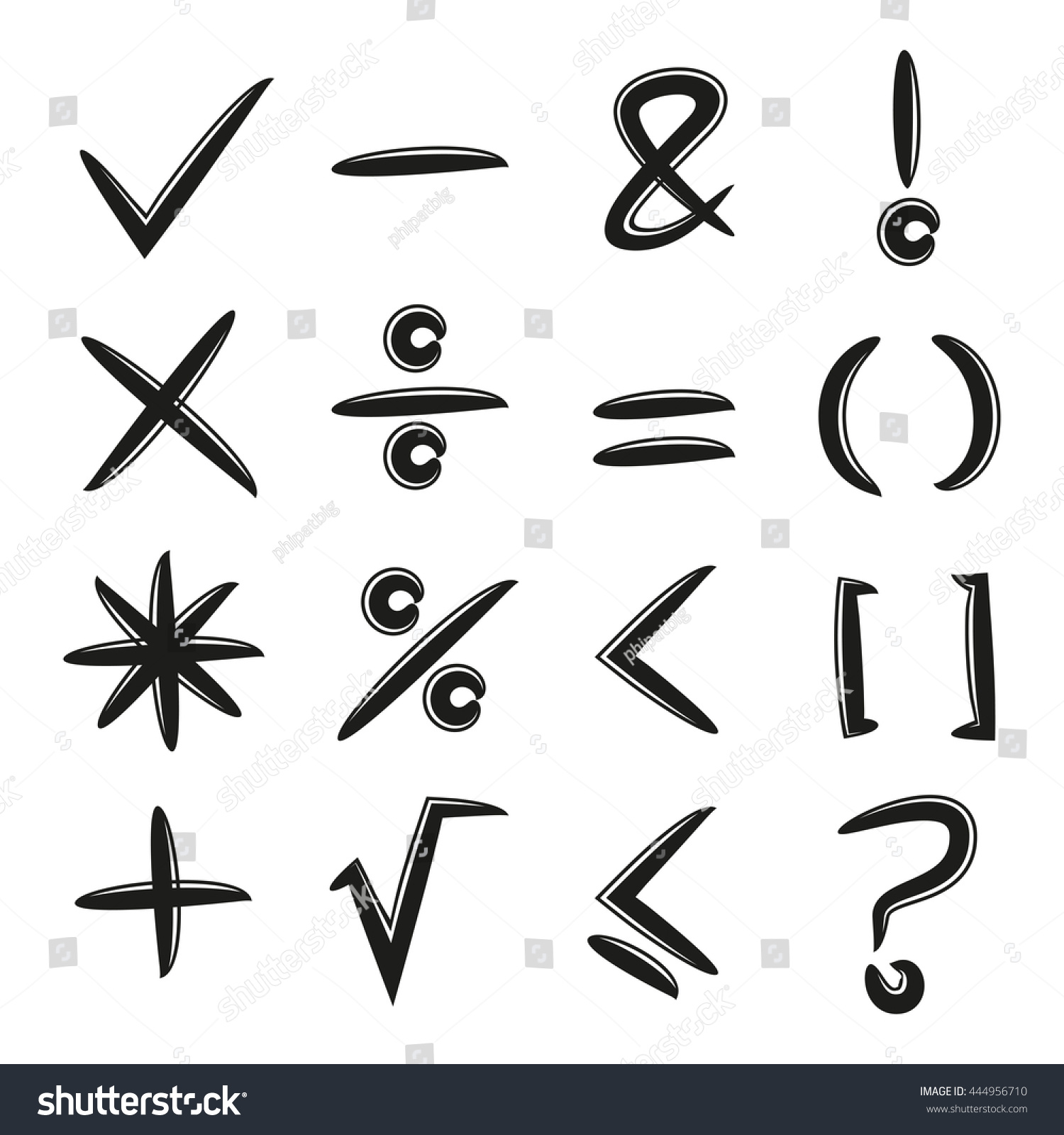Math Signs Check Mark Stock Vector Hd Royalty Free 444956710