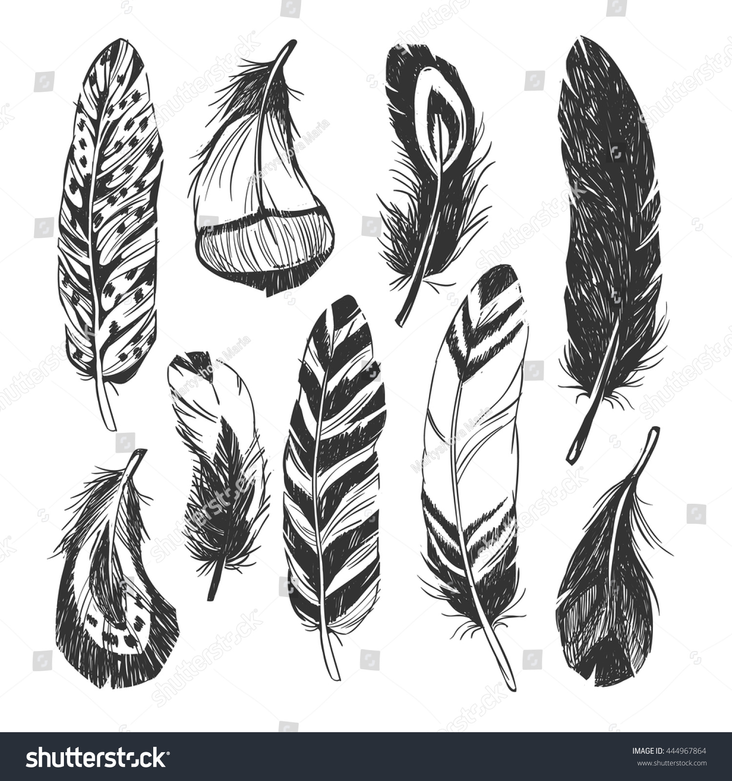 The hipster coloring book for adults - Feather Set In Native American Indian Style Vector Hand Drawn Hipster Illustration Isolated On White