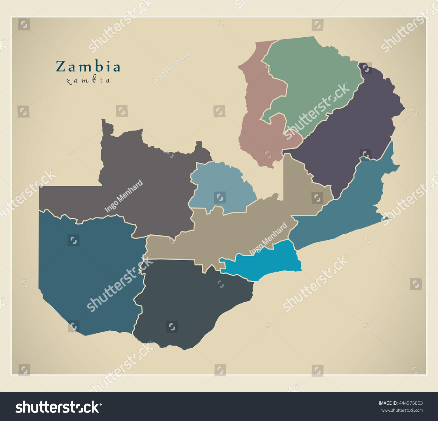 Modern Map Zambia Provinces Colored ZM Stock Vector (Royalty ...