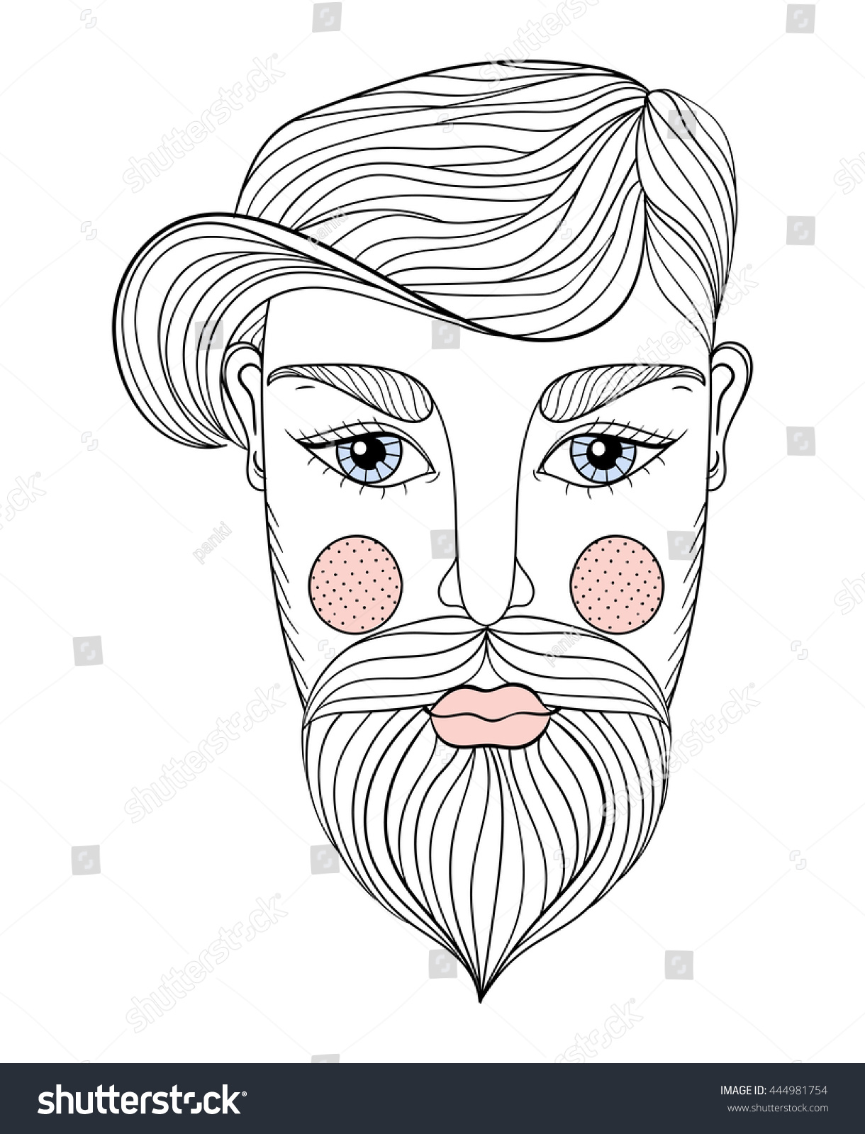 Vector Zentangle Portrait Man Face Mustache Stock Vector 444981754 ...