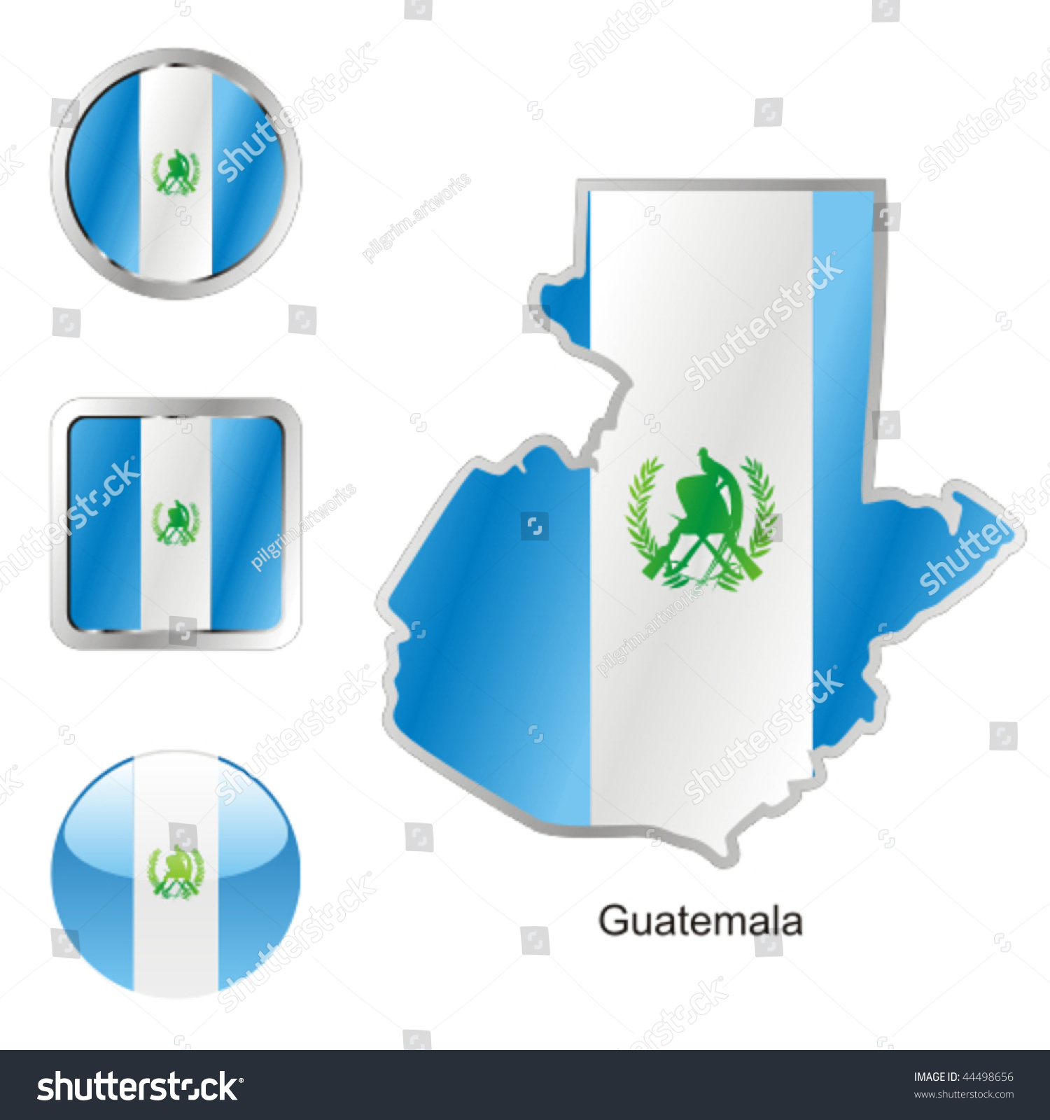 Fully Editable Vector Flag Guatemala Map Vector de stock44498656 ...