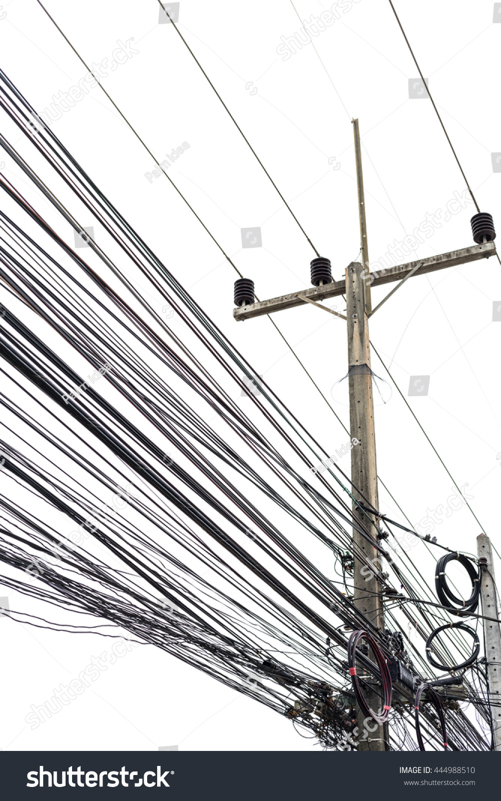 Electricity Cabletelephone Wire Fiber Optic Wire Stock Photo ...