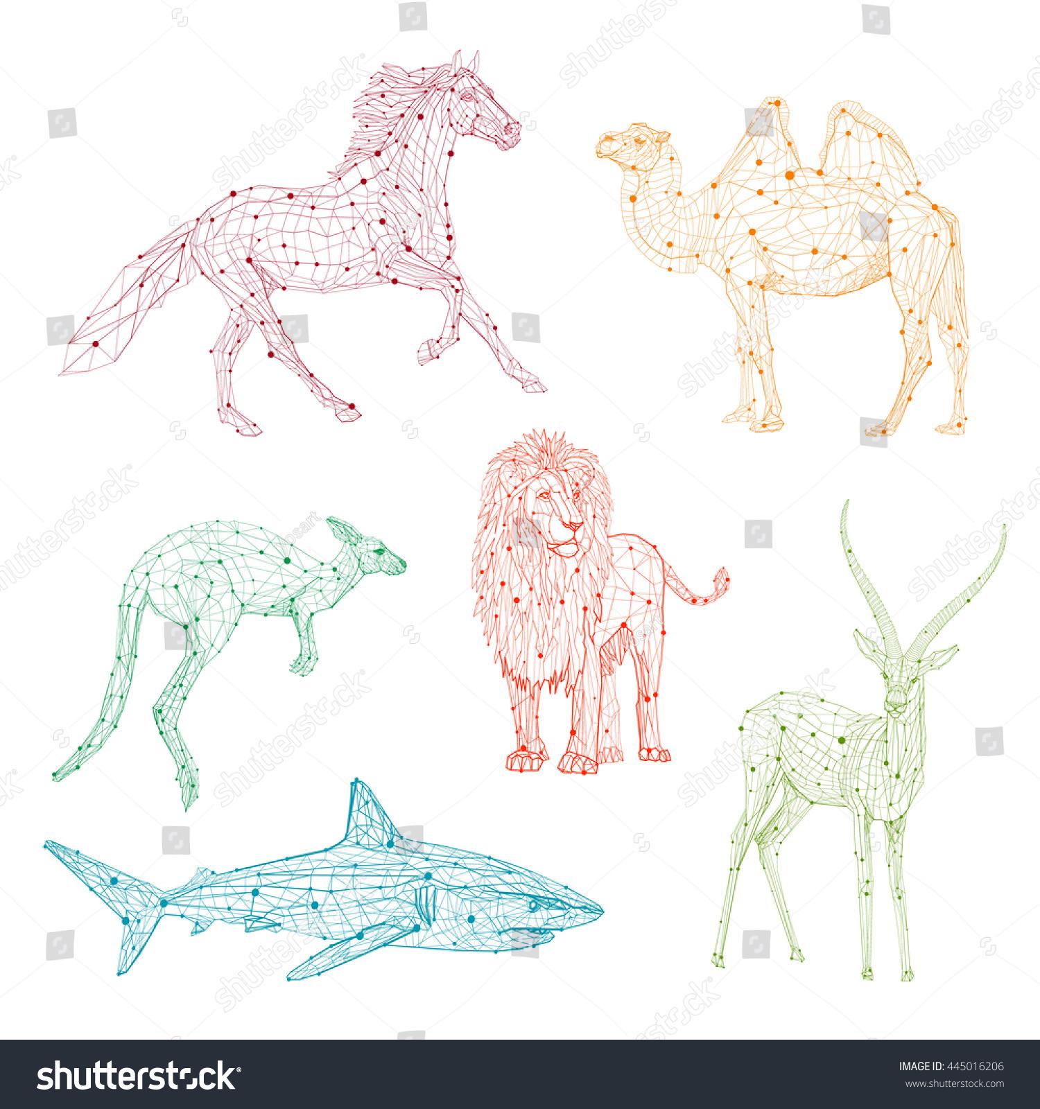 Low Poly Vector Animals Set Horse Lion Camel Kangaroo Shark
