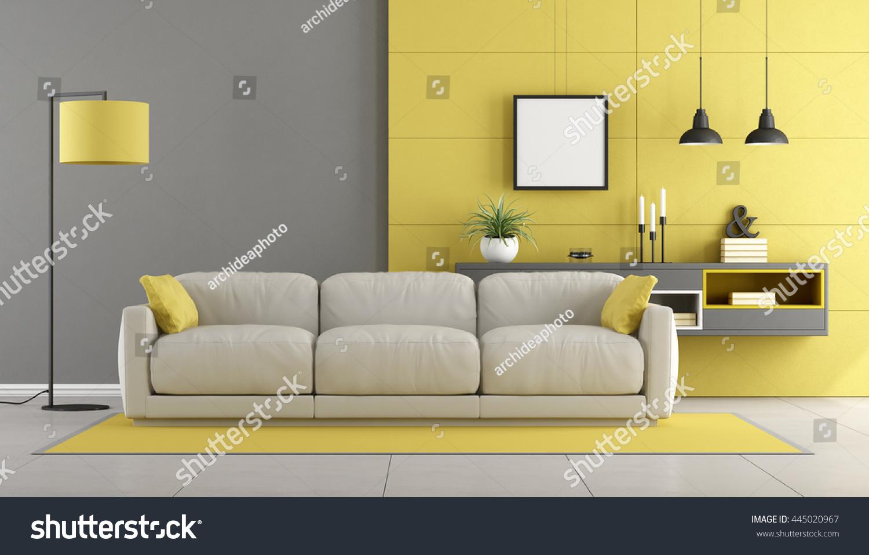 Gray Yellow Modern Lounge Sofa Sideboard Stock Illustration ...
