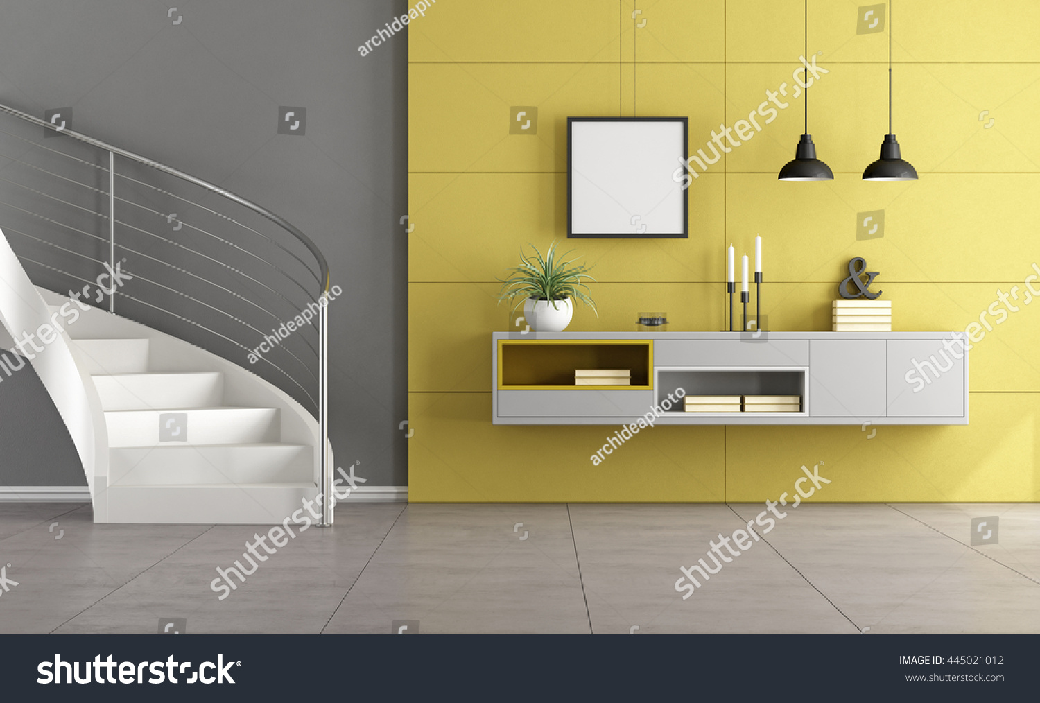 White Stair Minimalist Living Room Gray Stock Illustration 445021012 ...