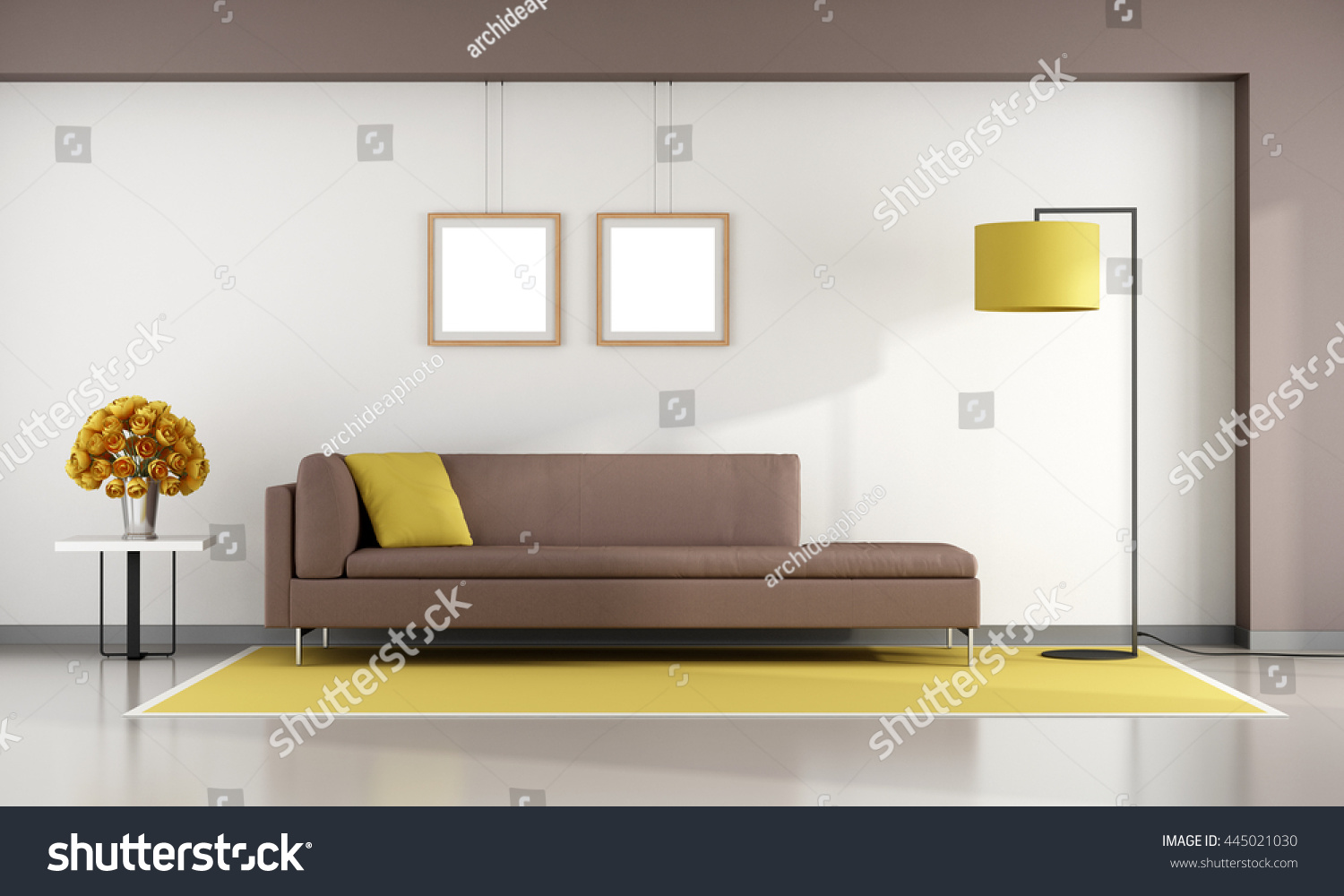 Minimalist Living Room Brown Sofa On Stock Illustration 445021030 ...